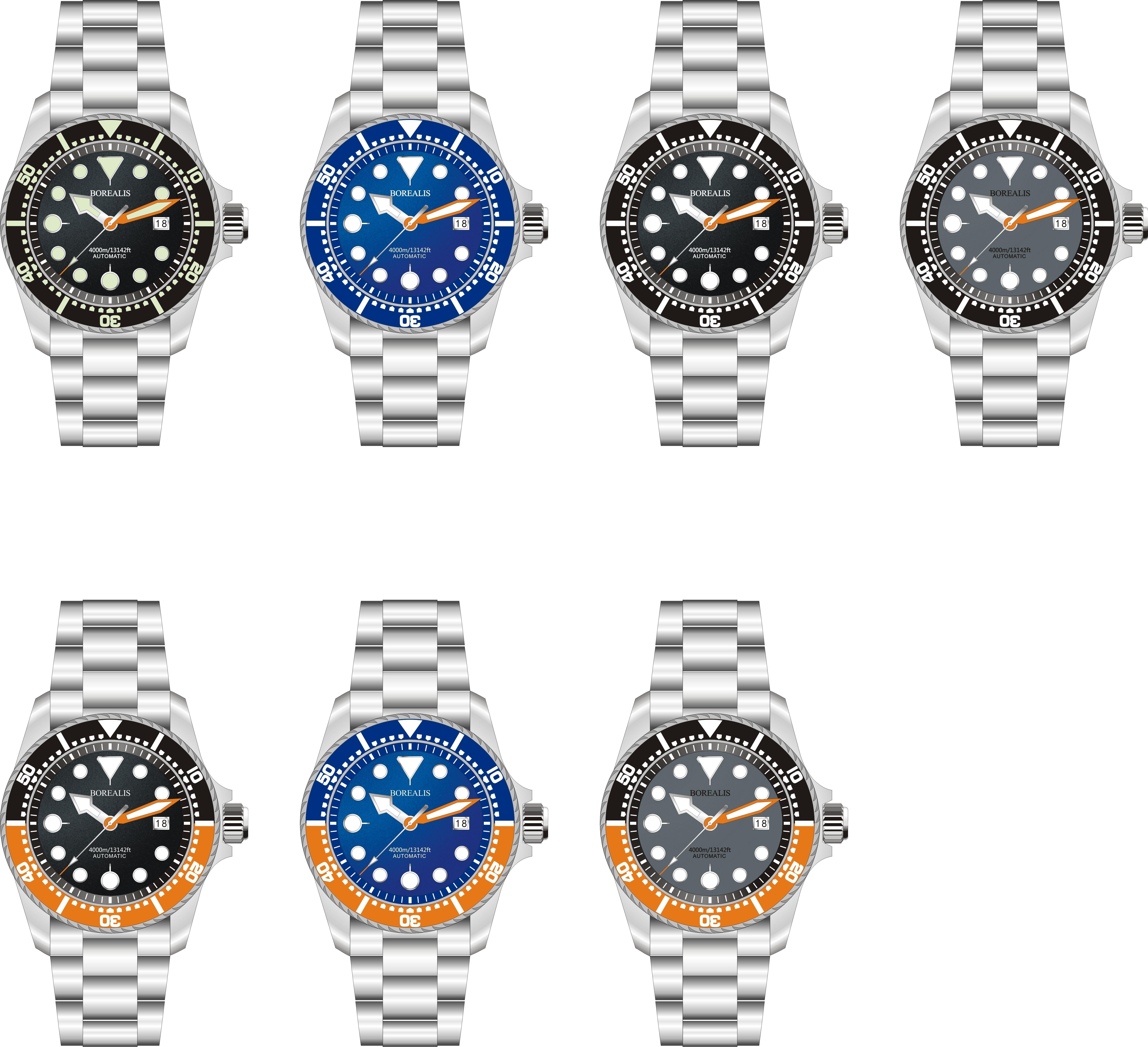Borealis Seafarer II Stainless Steel Black C3 Sapphire Turbine Style Grip Bezel 4000m Miyota 9015 Automatic Diver Watch