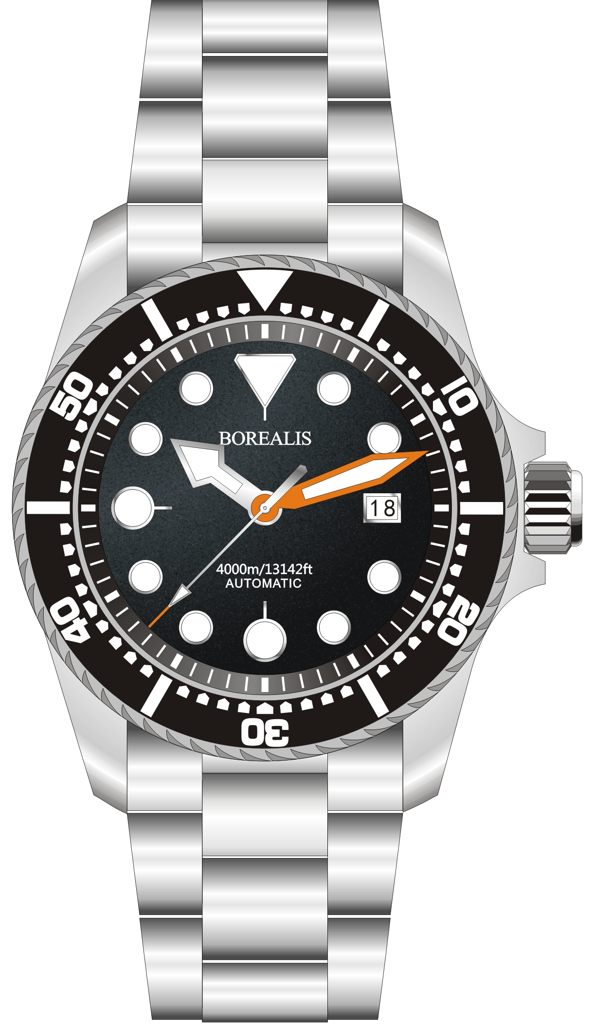 Borealis Seafarer II Stainless Steel Black BGW9 Sapphire Turbine Style Grip Bezel 4000m Miyota 9015 Automatic Diver Watch BSFIIBLACKBGW9