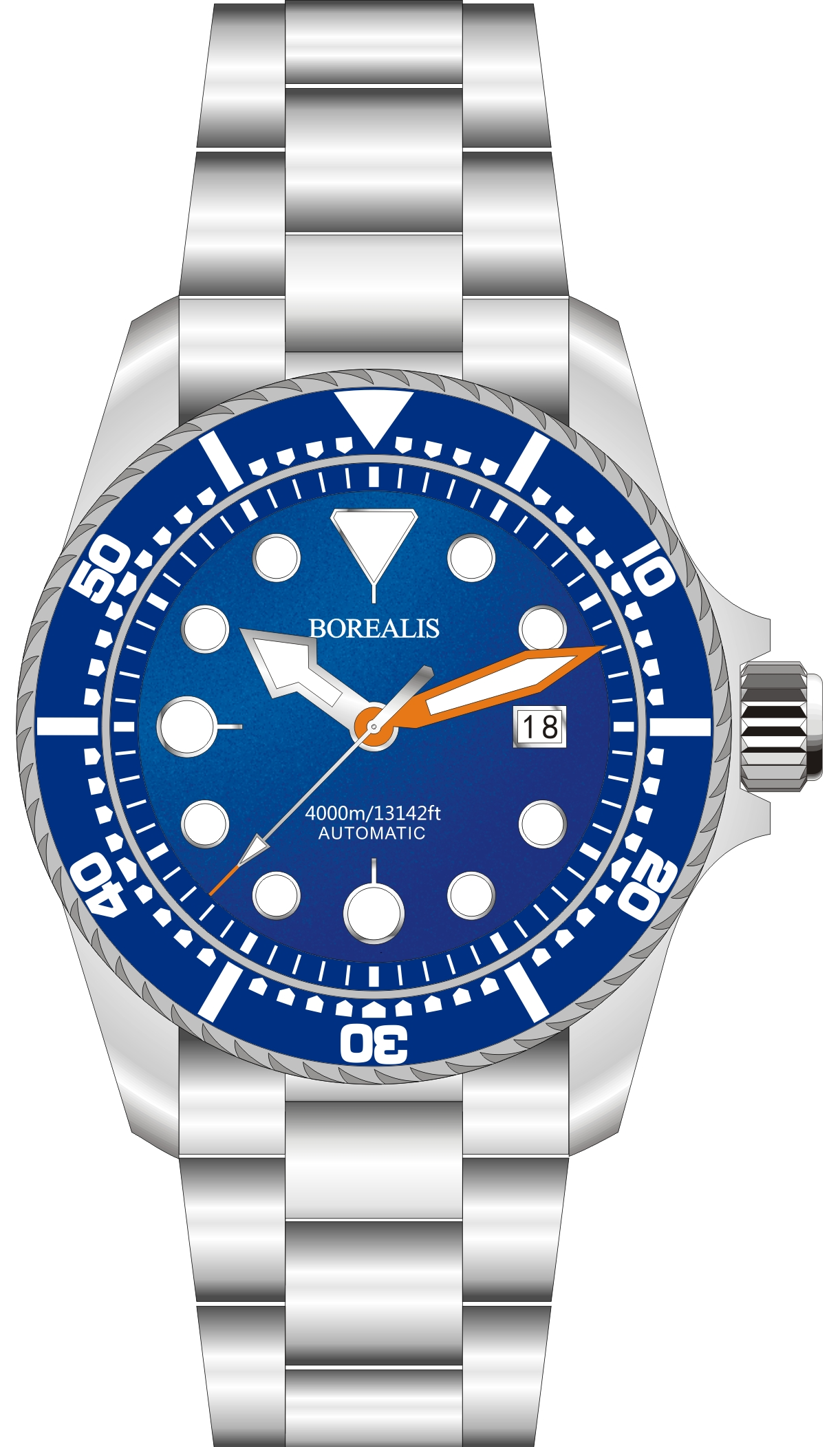 Borealis Seafarer II Stainless Steel Blue BGW9 Sapphire Turbine Style Grip Bezel 4000m Miyota 9015 Automatic Diver Watch BSFIIBLUEBGW9