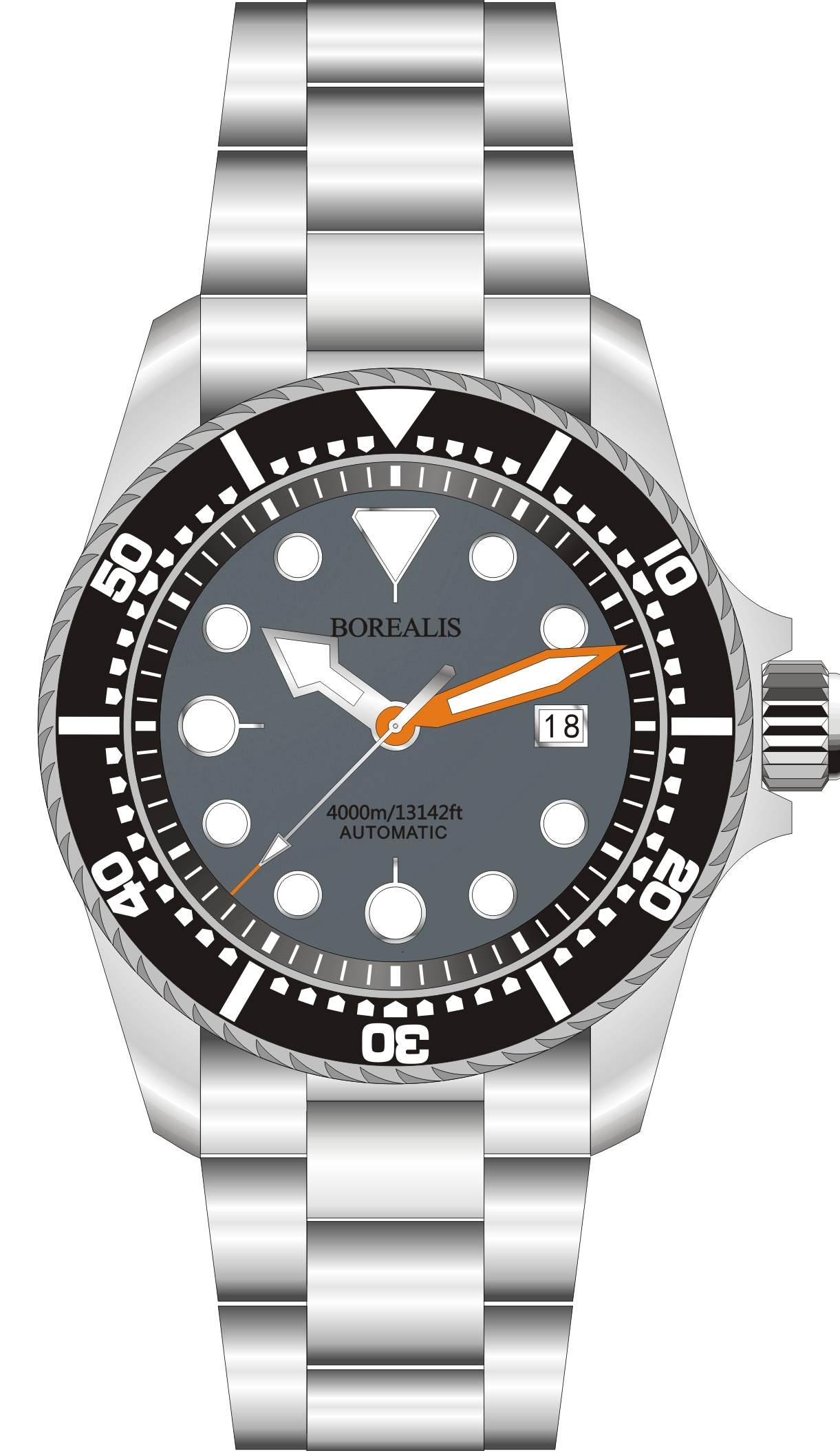 Borealis Seafarer II Stainless Steel Gray BGW9 Sapphire Turbine Style Grip Bezel 4000m Miyota 9015 Automatic Diver Watch BSFIIGRAYBGW9