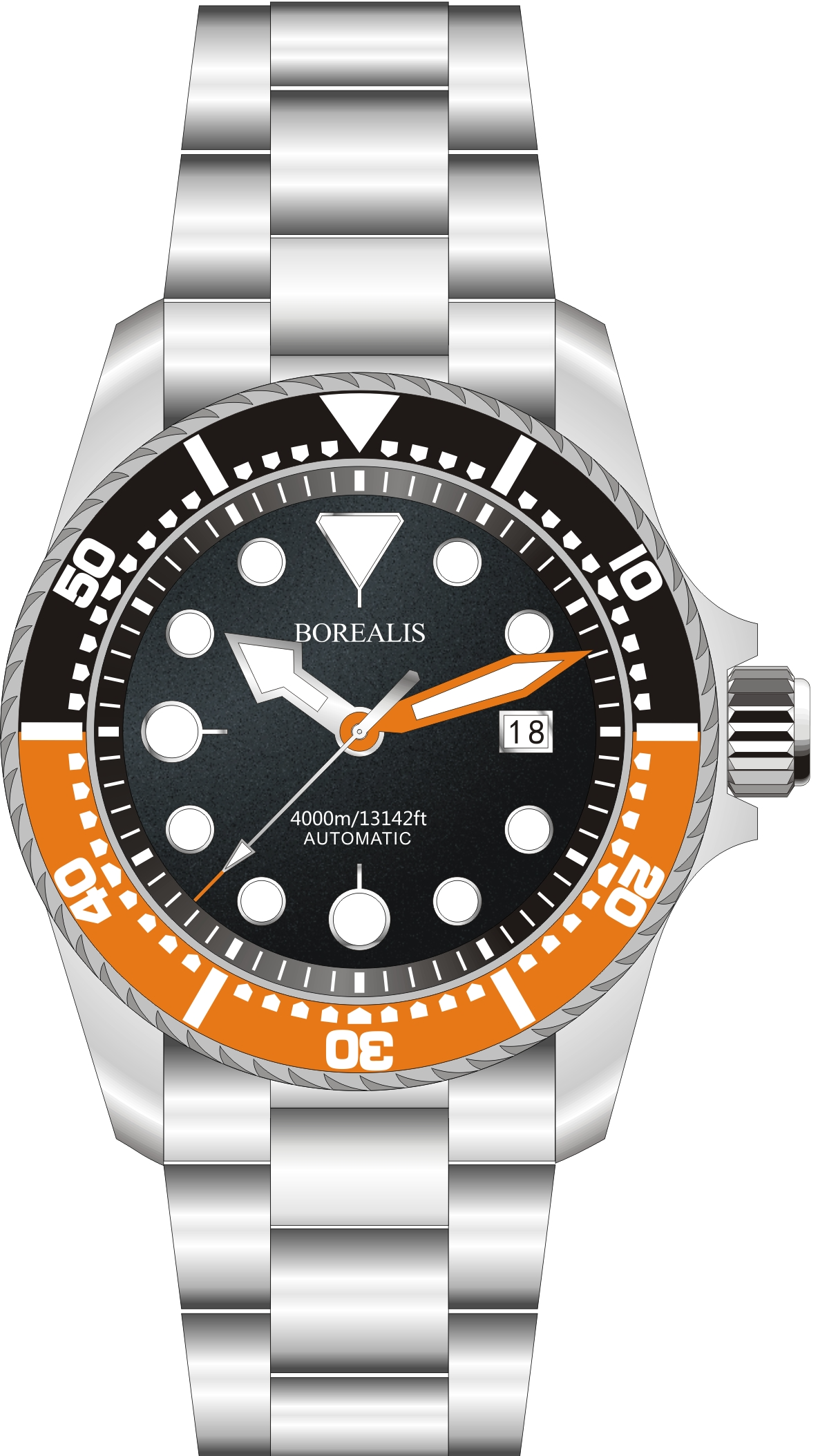Borealis Seafarer II Stainless Steel Black Orange BGW9 Sapphire Turbine Style Grip Bezel 4000m Miyota 9015 Automatic Diver Watch