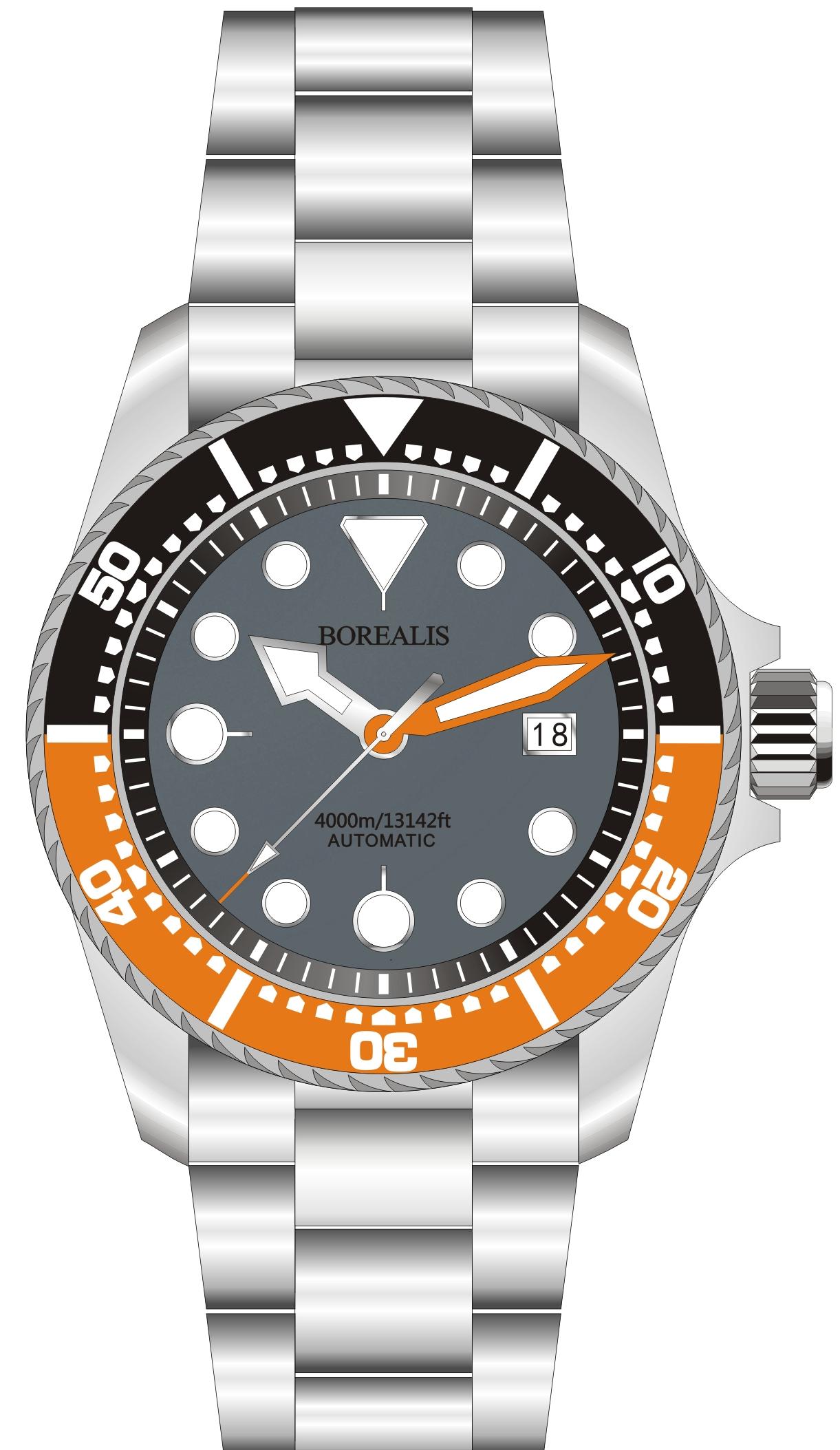 Borealis Seafarer II Stainless Steel Gray Orange BGW9 Sapphire Turbine Style Grip Bezel 4000m Miyota 9015 Automatic Diver Watch BSFIIGRAYORANGEBGW9