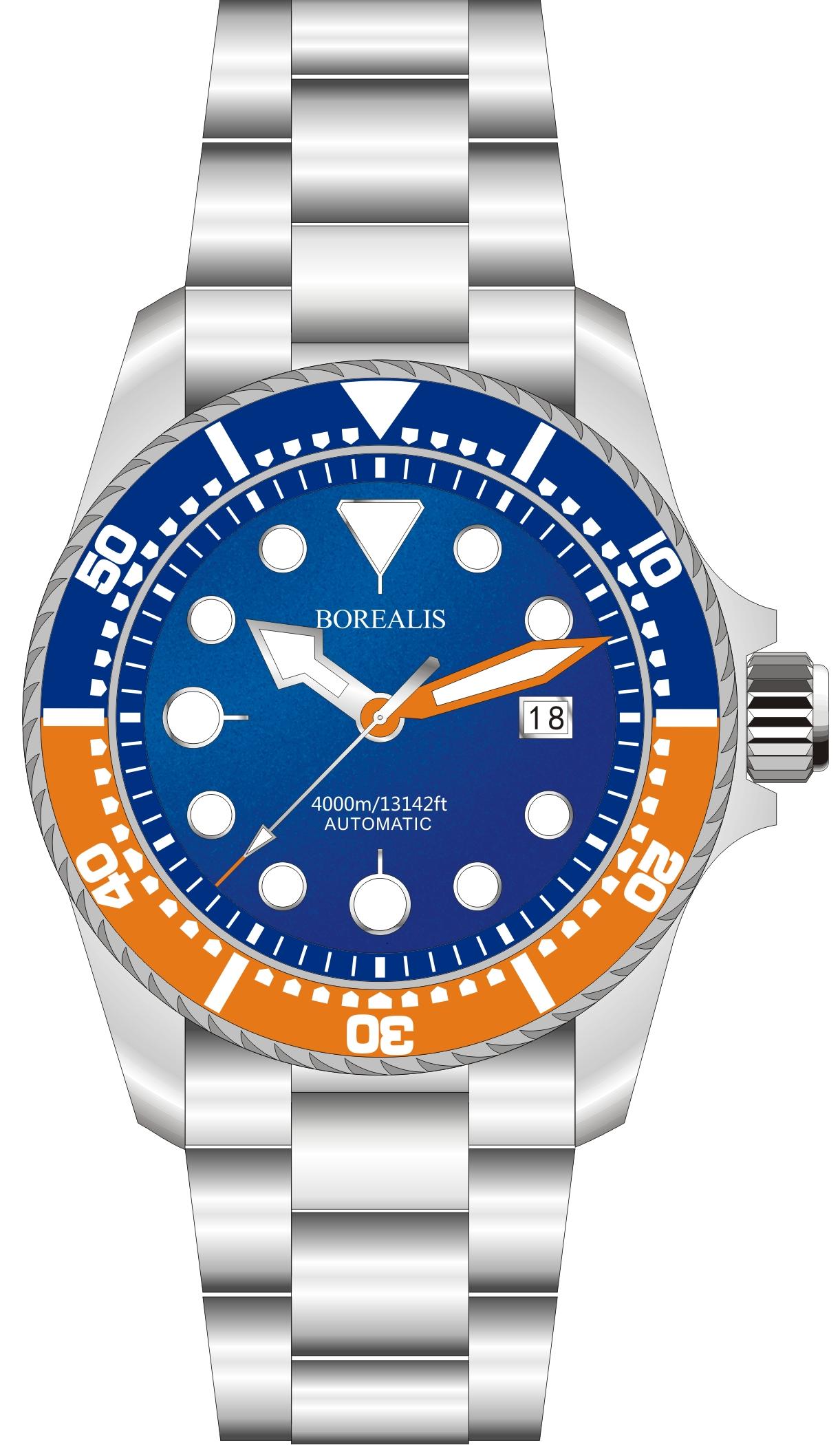 Borealis Seafarer II Stainless Steel Blue Orange BGW9 Sapphire Turbine Style Grip Bezel 4000m Miyota 9015 Automatic Diver Watch BSFIIBLUEORANGEBGW9
