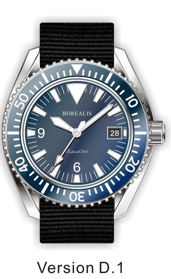 Borealis Estoril 300 Blue Dial Big Triangle Date Sapphire Bezel Miyota 9015 Automatic Diver Watch 300m BE300BLUEBTD