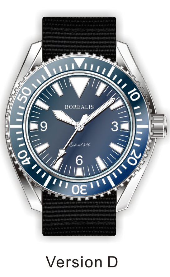 Borealis Estoril 300 Blue Dial Big Triangle No Date Sapphire Bezel Miyota 9015 Automatic Diver Watch 300m BE300BLUEBTND