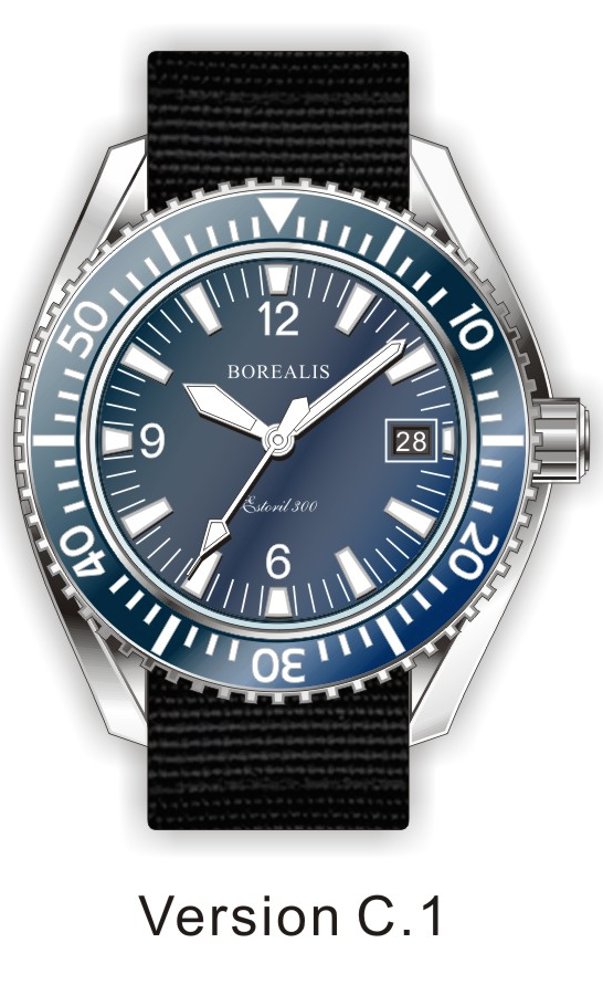 Borealis Estoril 300 Blue Dial Arabic Numbers Date Sapphire Bezel Miyota 9015 Automatic Diver Watch 300m BE300BLUEAND
