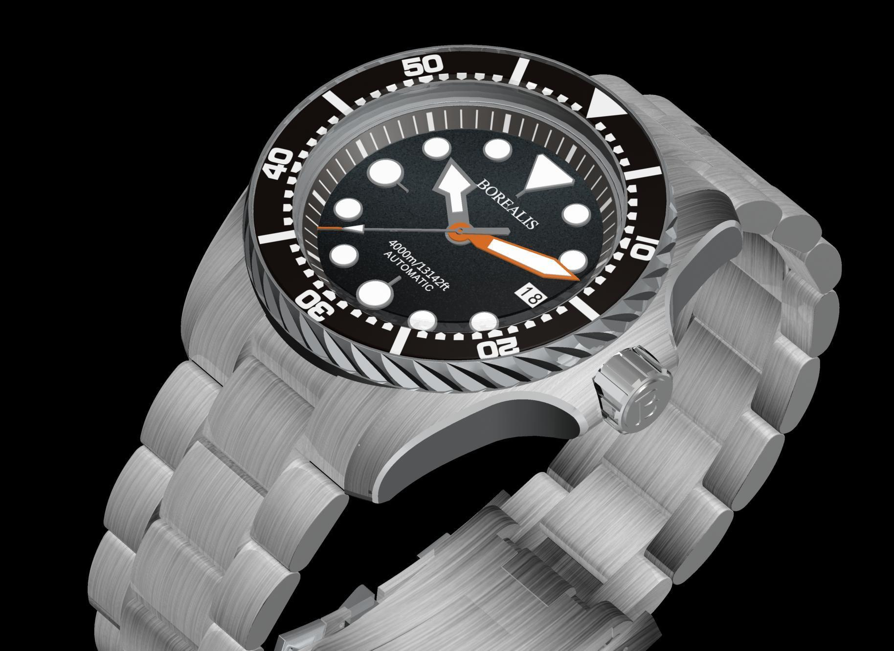 Borealis Seafarer II Stainless Steel Black BGW9 Sapphire Turbine Style Grip Bezel 4000m Miyota 9015 Automatic Diver Watch