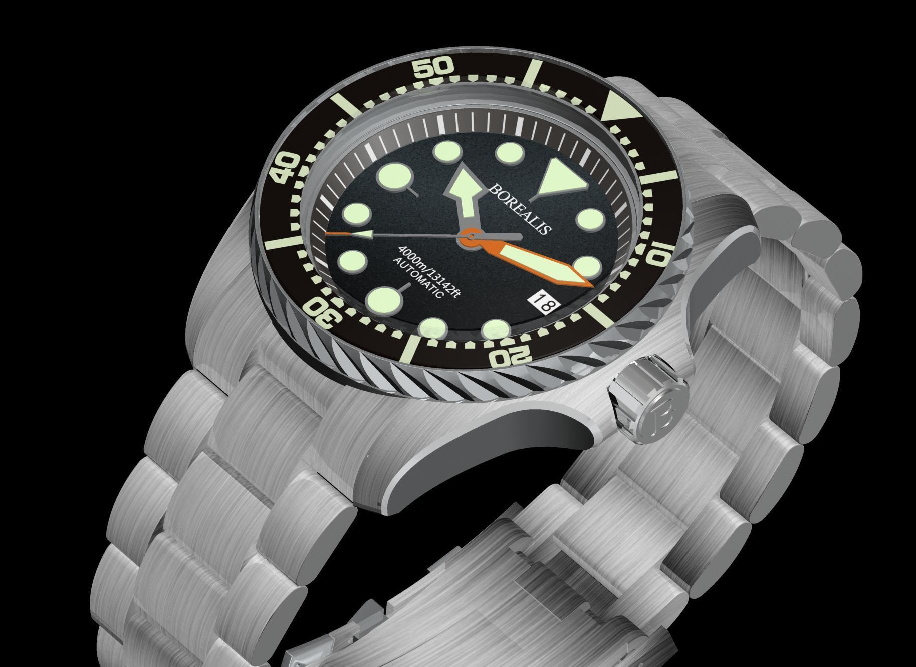 Borealis Seafarer II Stainless Steel Black C3 Sapphire Turbine Style Grip Bezel 4000m Miyota 9015 Automatic Diver Watch