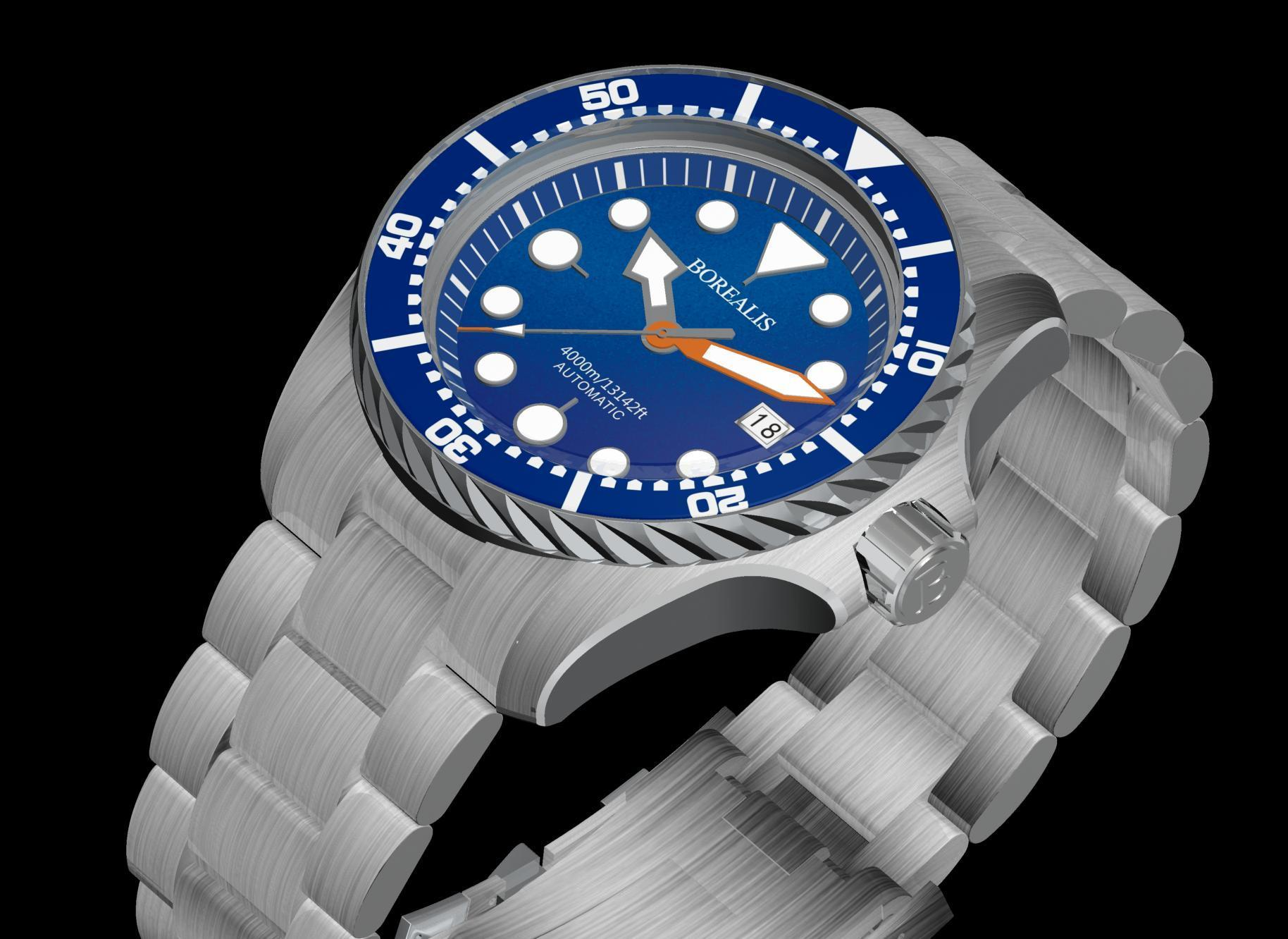 Borealis Seafarer II Stainless Steel Blue BGW9 Sapphire Turbine Style Grip Bezel 4000m Miyota 9015 Automatic Diver Watch