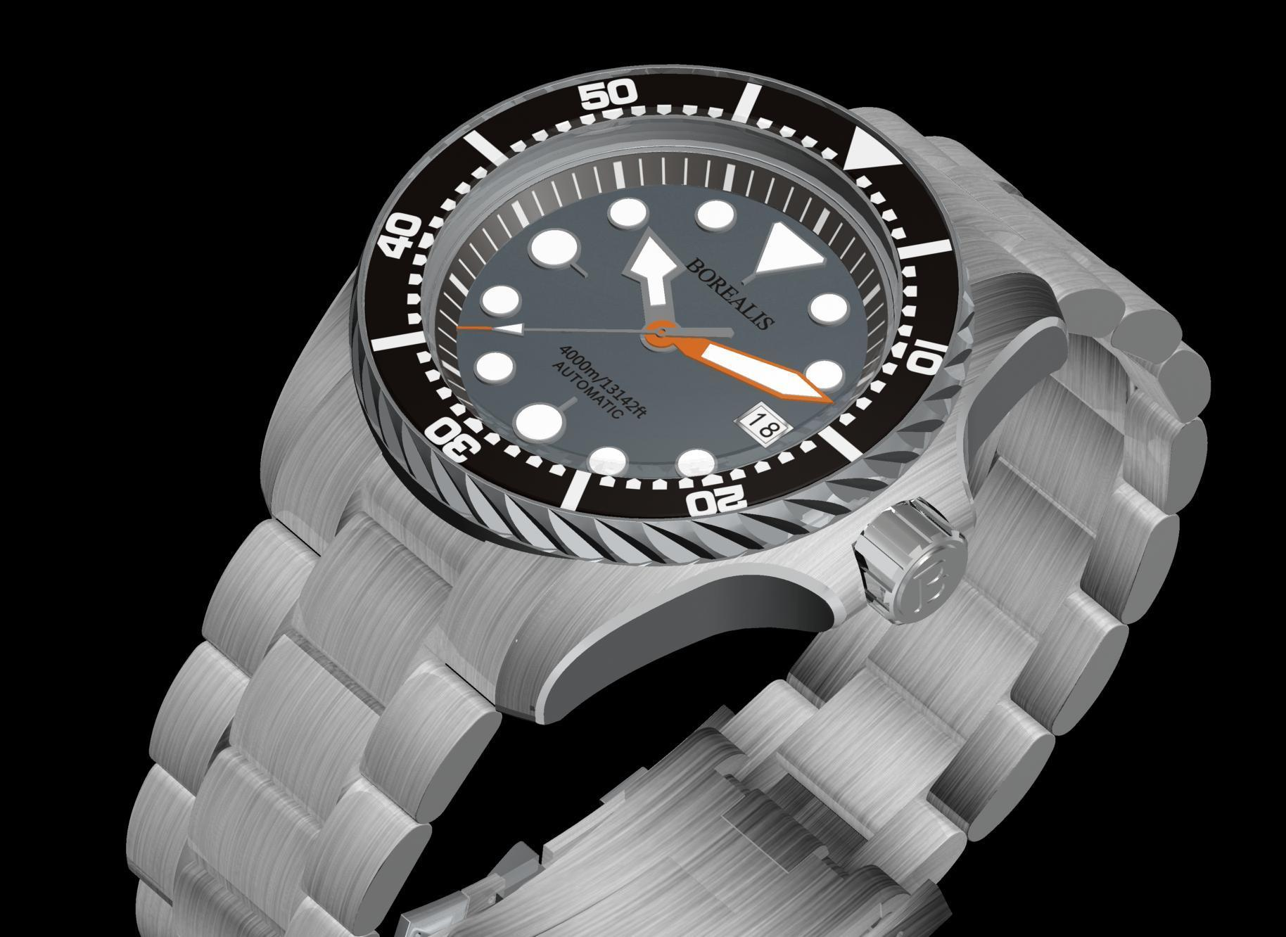 Borealis Seafarer II Stainless Steel Gray BGW9 Sapphire Turbine Style Grip Bezel 4000m Miyota 9015 Automatic Diver Watch