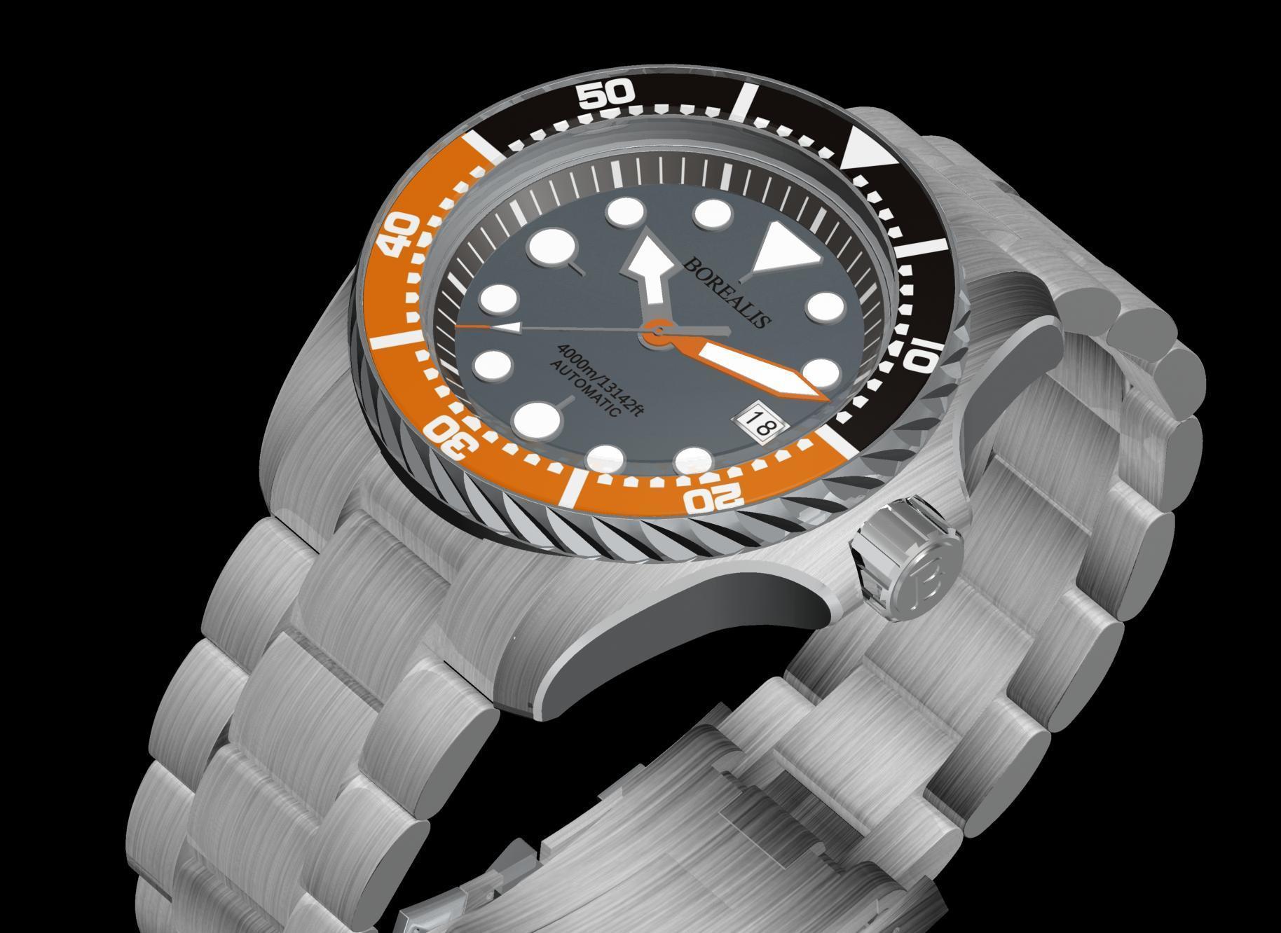 Borealis Seafarer II Stainless Steel Gray Orange BGW9 Sapphire Turbine Style Grip Bezel 4000m Miyota 9015 Automatic Diver Watch