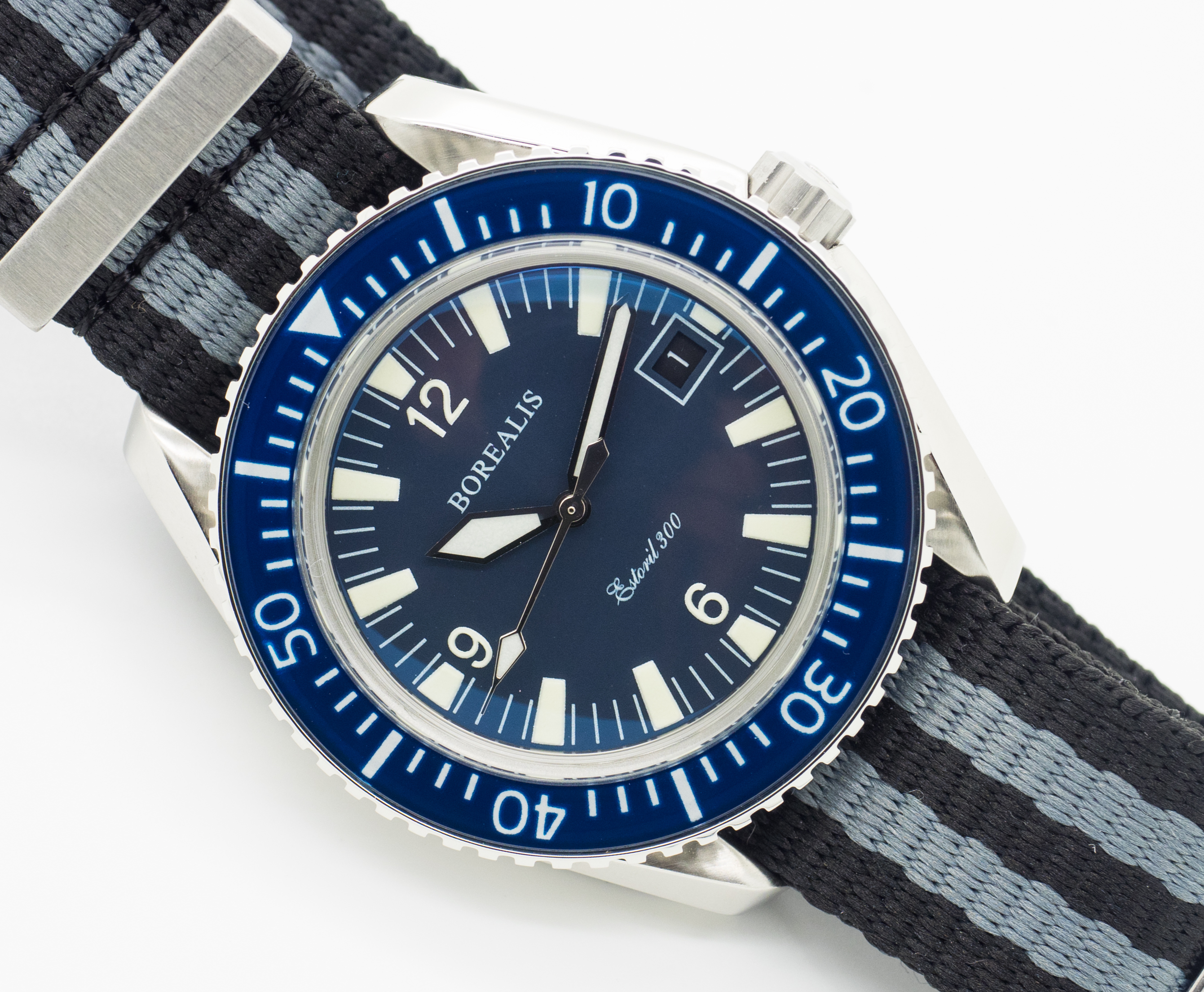 Borealis Estoril 300 Blue Dial Arabic Numbers Date Sapphire Bezel Miyota 9015 Automatic Diver Watch 300m
