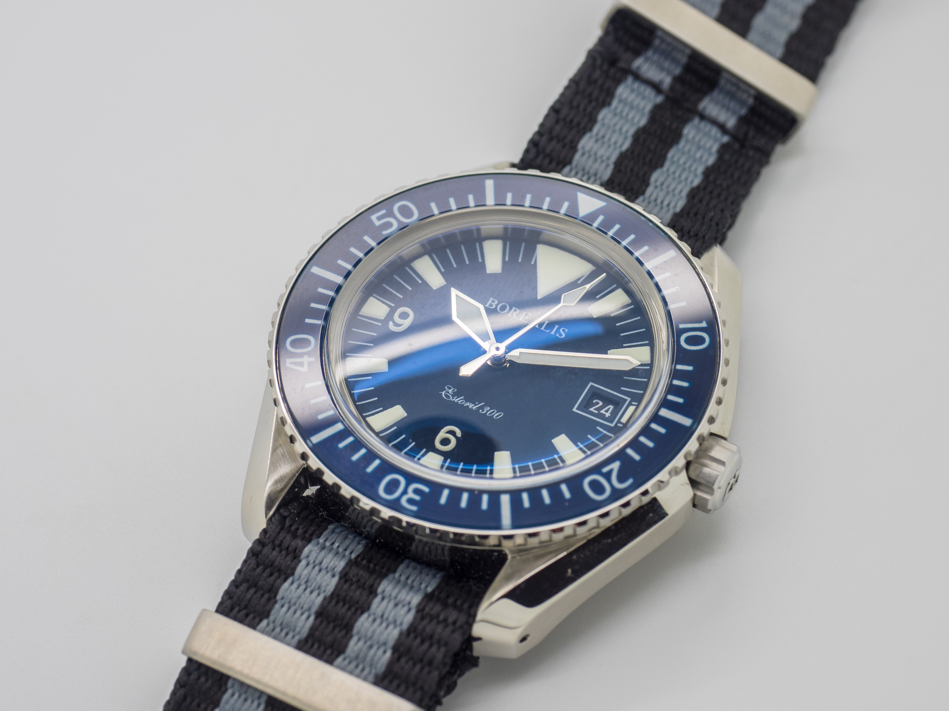Borealis Estoril 300 Blue Dial Big Triangle Date Sapphire Bezel Miyota 9015 Automatic Diver Watch 300m