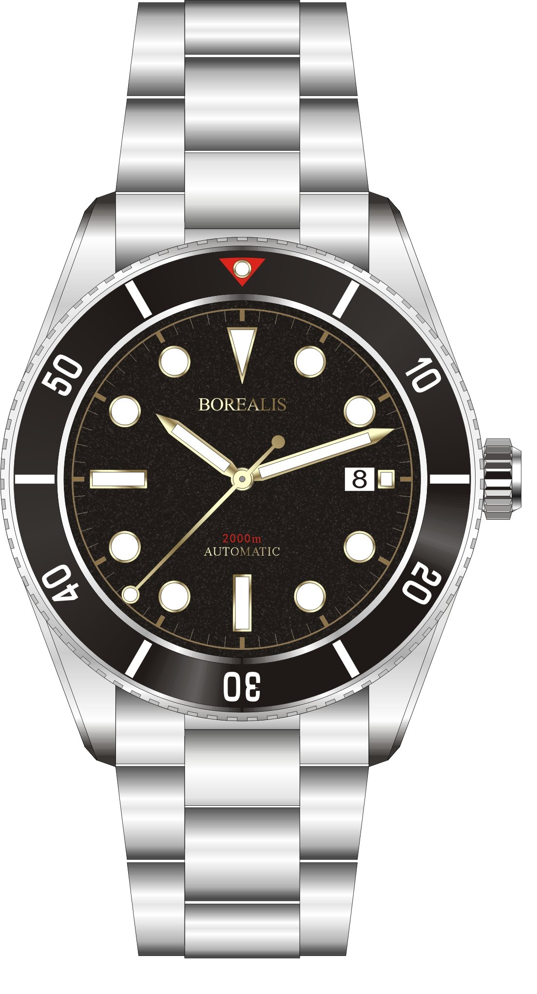 Pre-Order Borealis Bull Shark Automatic Diver Watch Date Miyota 9015 Ceramic Black Bezel Black Dial BBSBBBDD