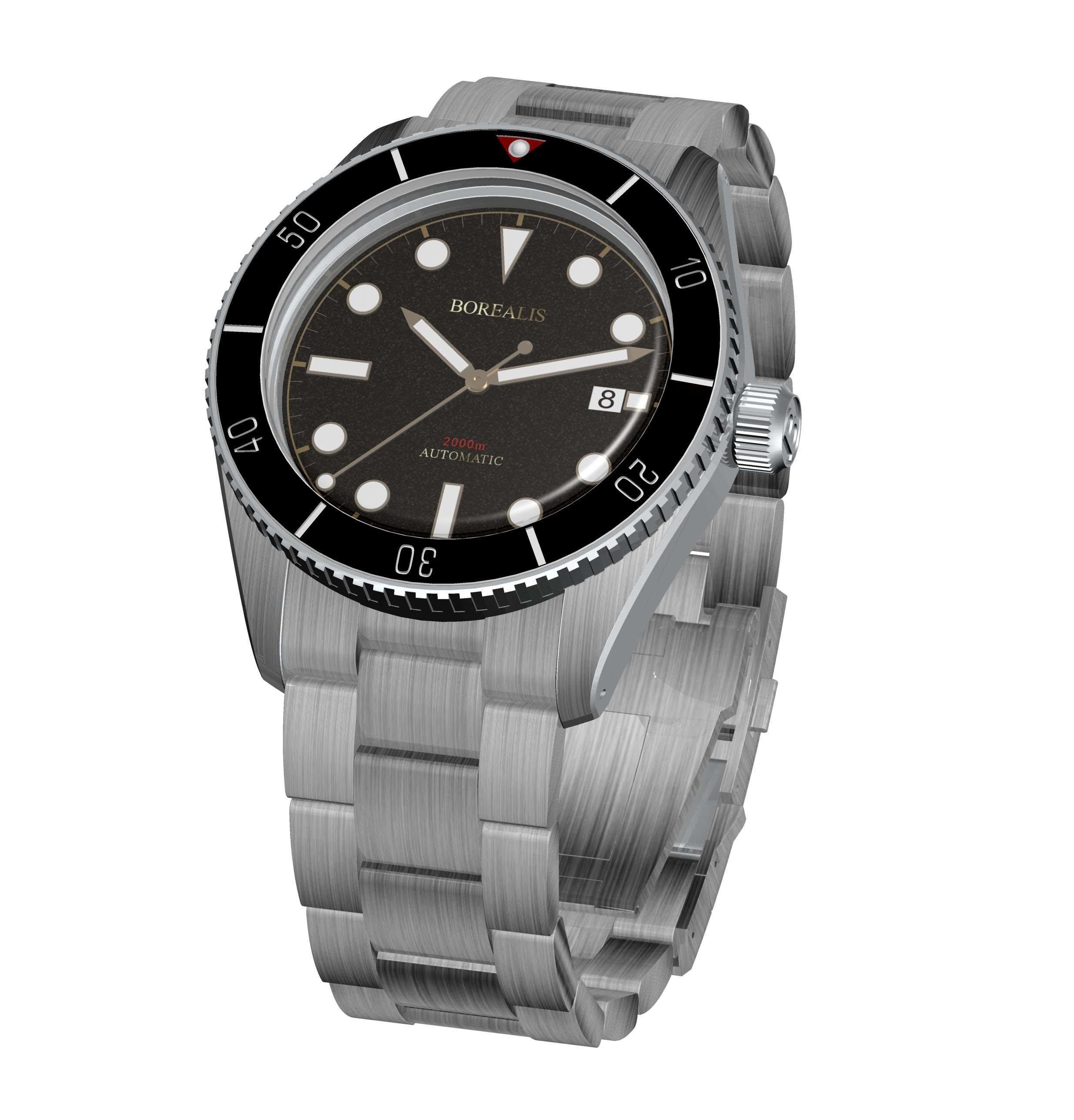 New product Duplicate    Borealis Bull Shark Automatic Diver Watch Date Miyota 9015 Ceramic Black Bezel Black Dial