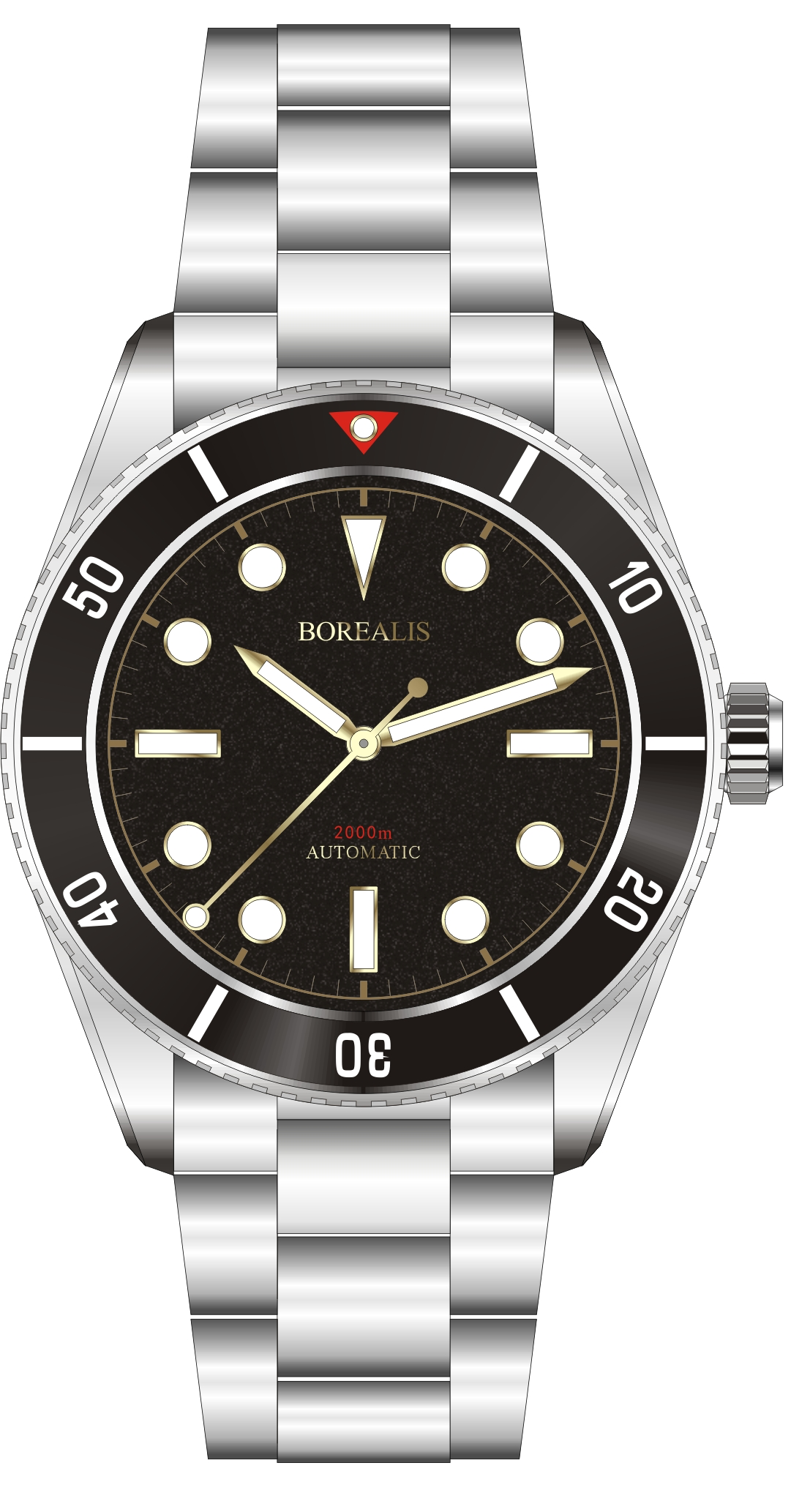Pre-Order Borealis Bull Shark Automatic Diver Watch No Date Miyota 9015 Ceramic Black Bezel Black Dial BBSBBBDND