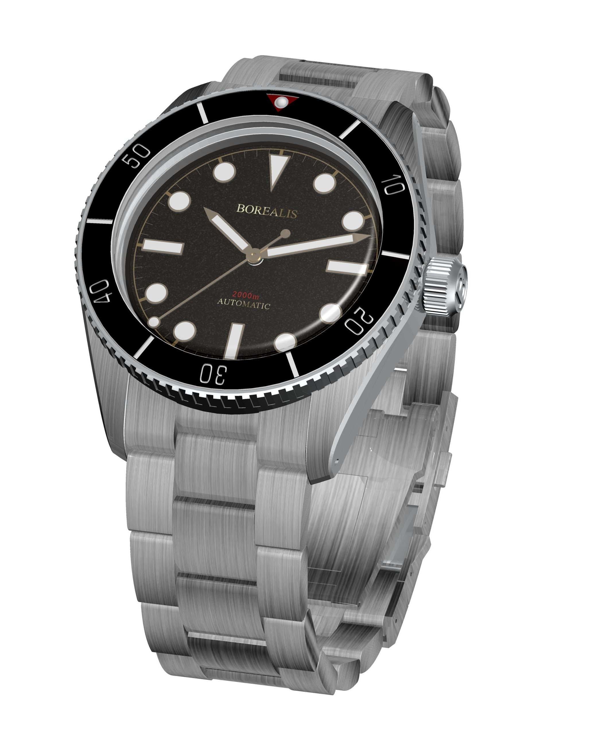 Borealis Bull Shark Automatic Diver Watch No Date Miyota 9015 Ceramic Black Bezel Black Dial