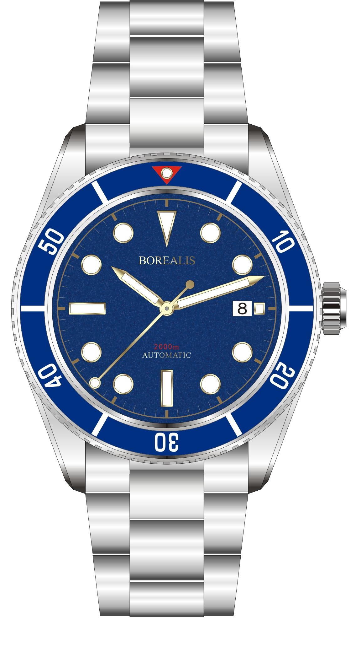 Borealis Bull Shark Automatic Diver Watch Date Miyota 9015 Ceramic Blue Bezel Blue Dial BBSBLBBLDD