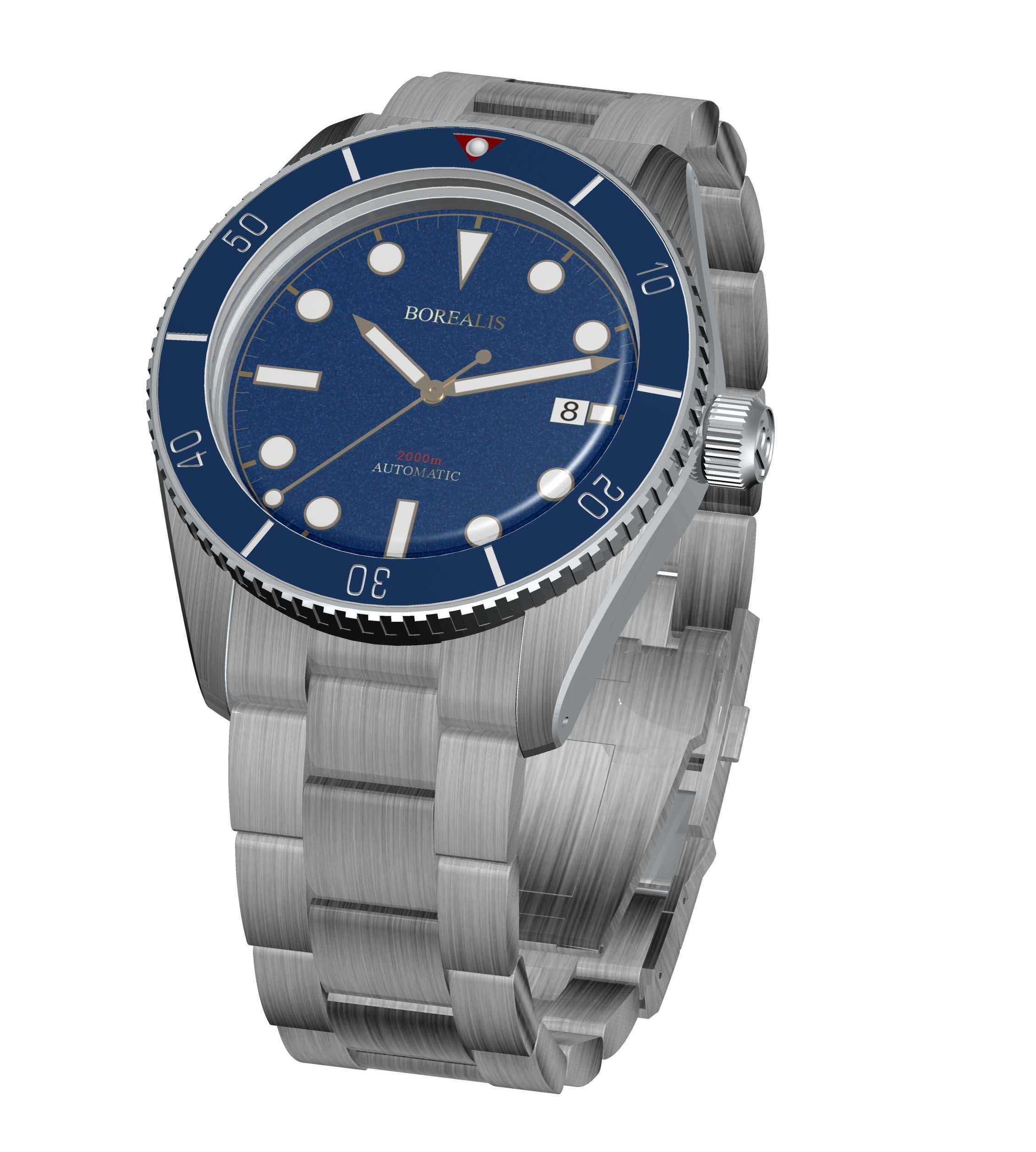 Borealis Bull Shark Automatic Diver Watch Date Miyota 9015 Ceramic Blue Bezel Blue Dial