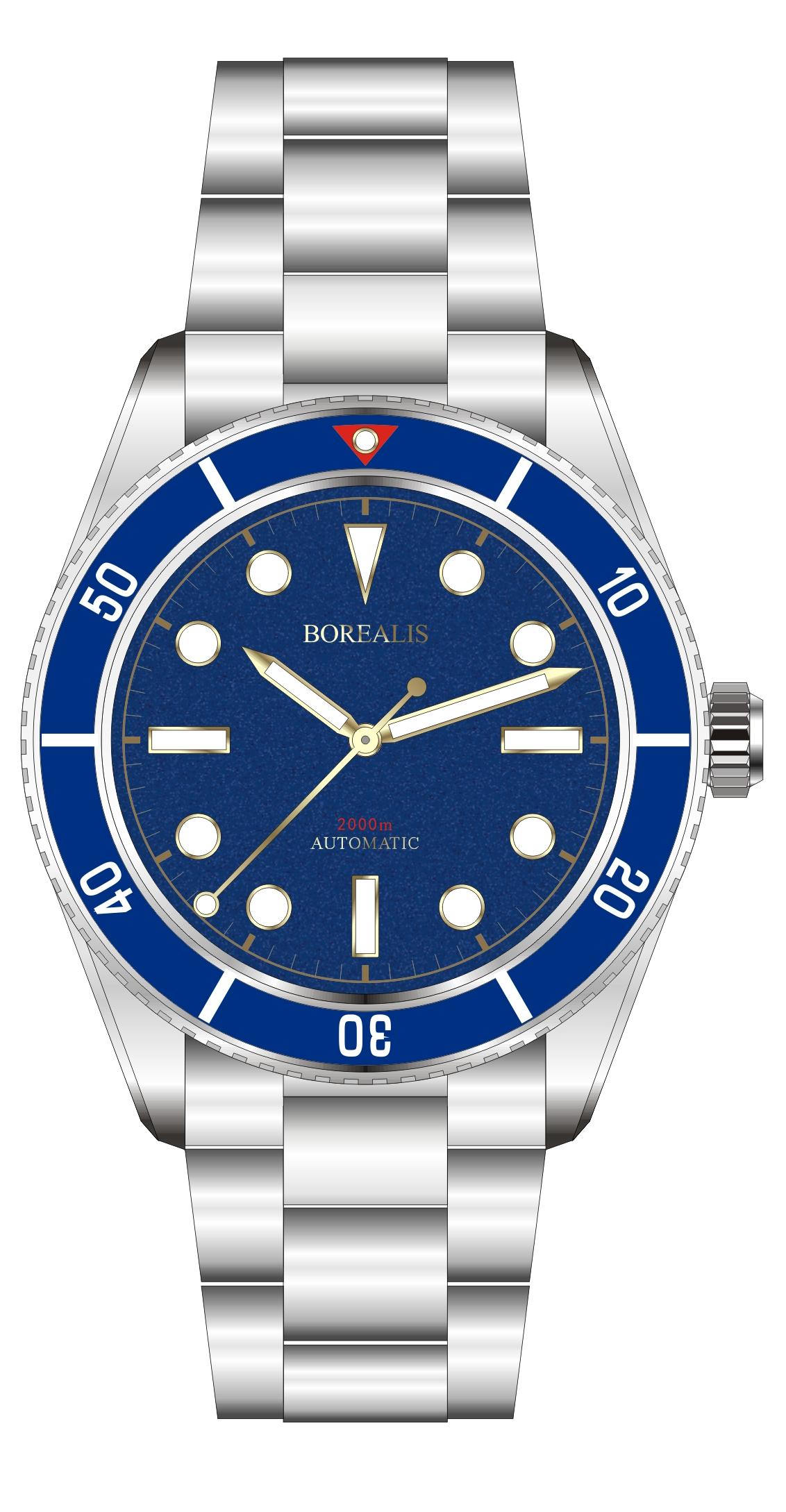 Borealis Bull Shark Automatic Diver Watch No Date Miyota 9015 Ceramic Blue Bezel Blue Dial BBSBLBBLDND