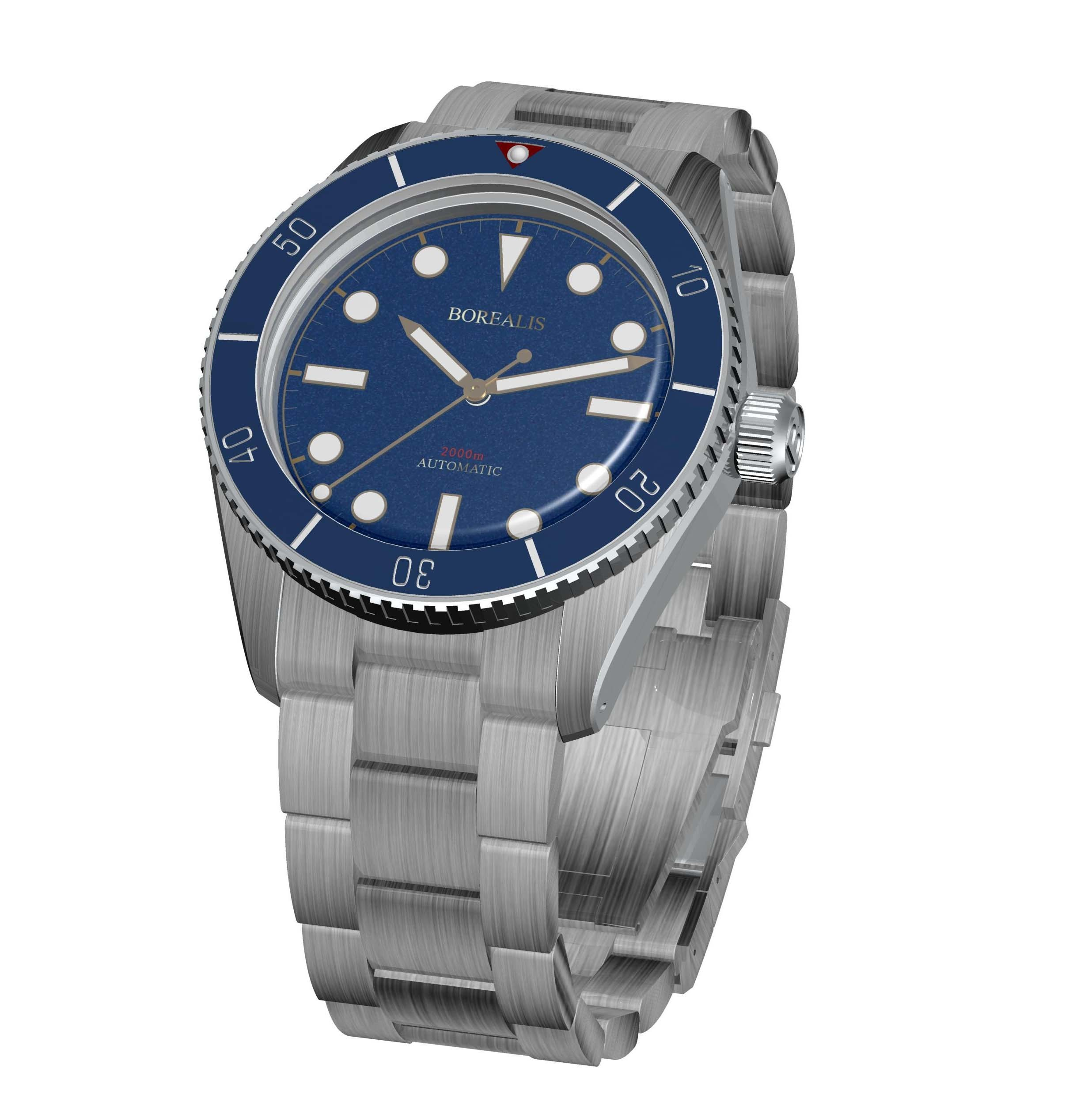 Borealis Bull Shark Automatic Diver Watch No Date Miyota 9015 Ceramic Blue Bezel Blue Dial