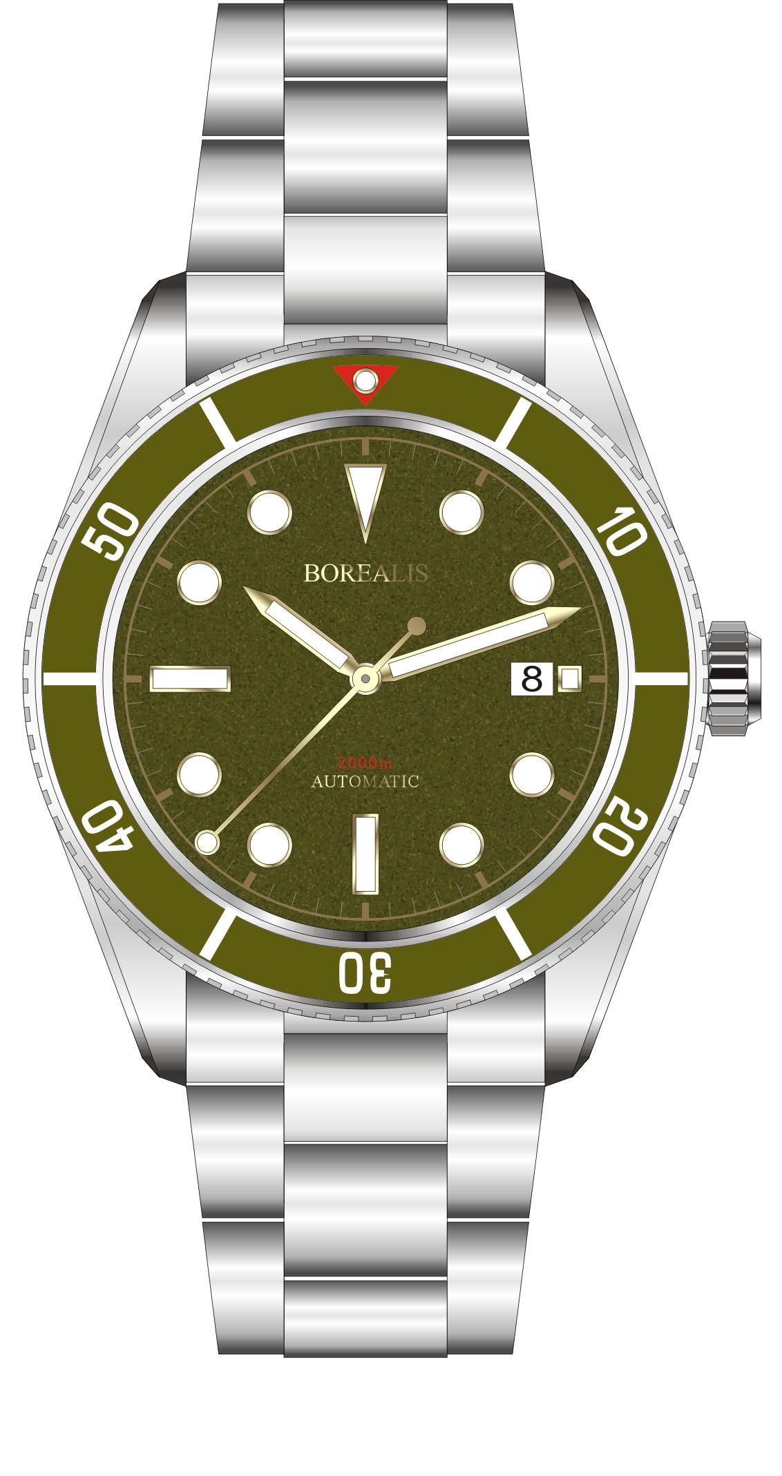 Borealis Bull Shark Automatic Diver Watch Date Miyota 9015 Ceramic Green Bezel Green Dial BBSGBGDD