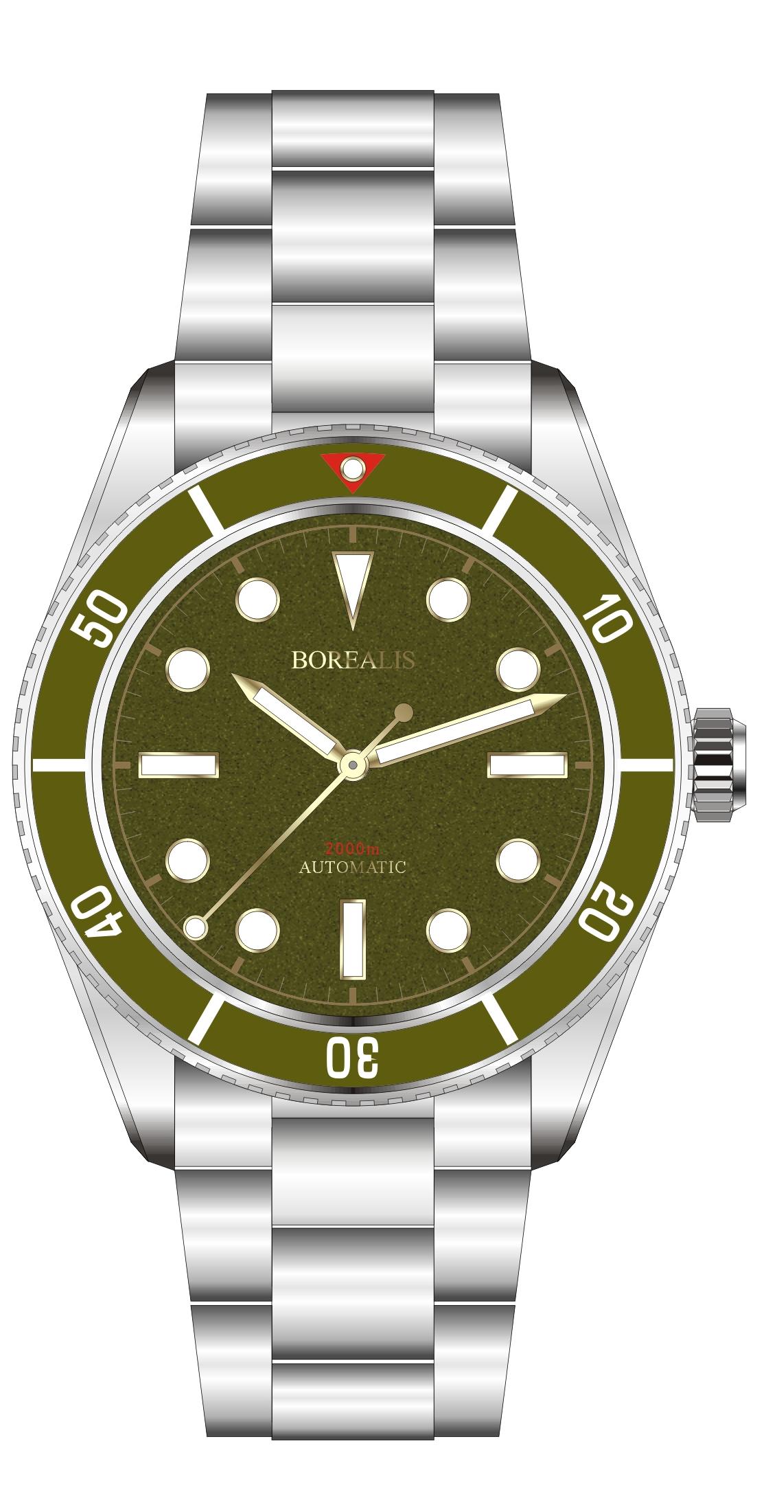 Borealis Bull Shark Automatic Diver Watch No Date Miyota 9015 Ceramic Green Bezel Green Dial BBSGBGDND