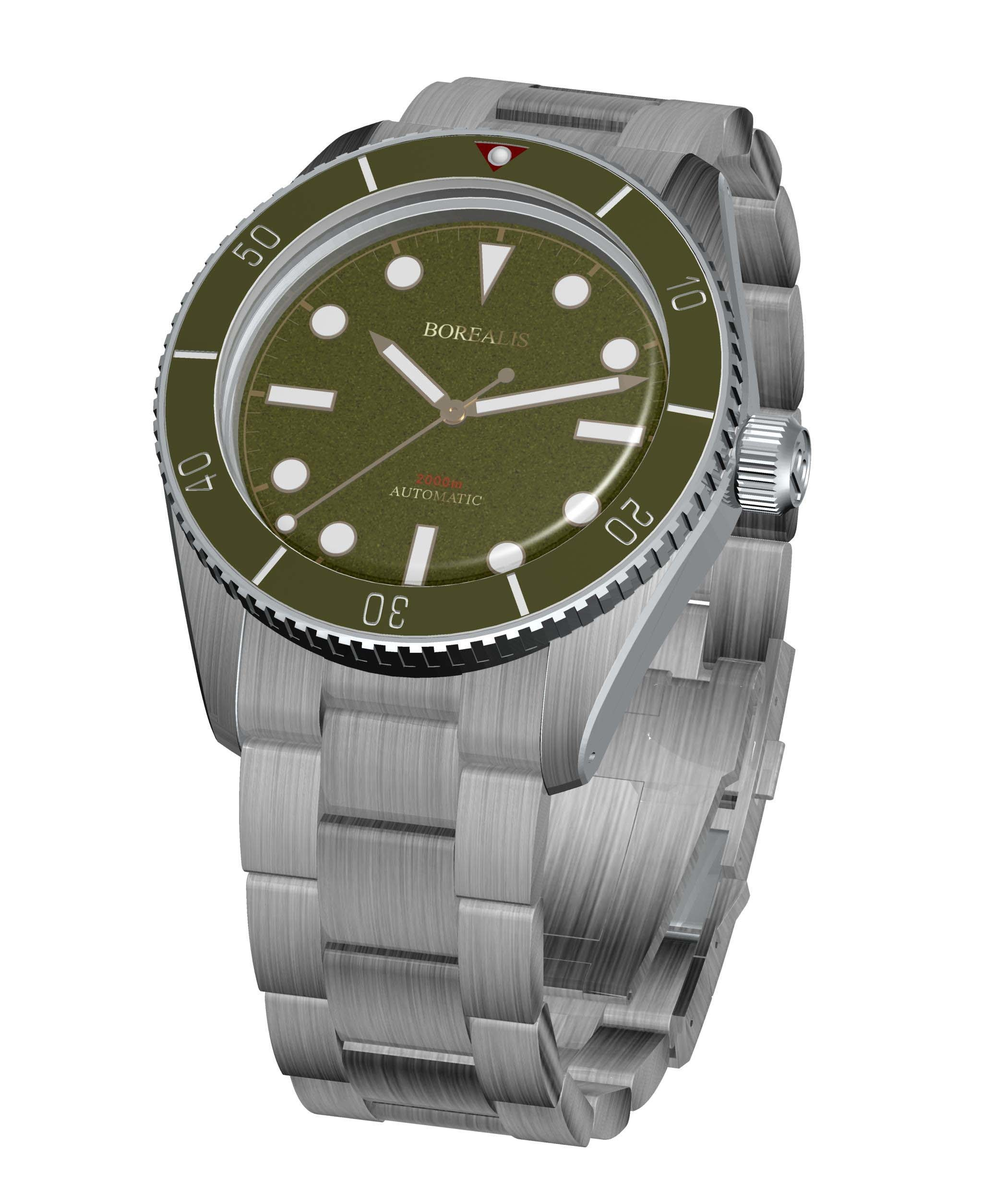 Borealis Bull Shark Automatic Diver Watch No Date Miyota 9015 Ceramic Green Bezel Green Dial