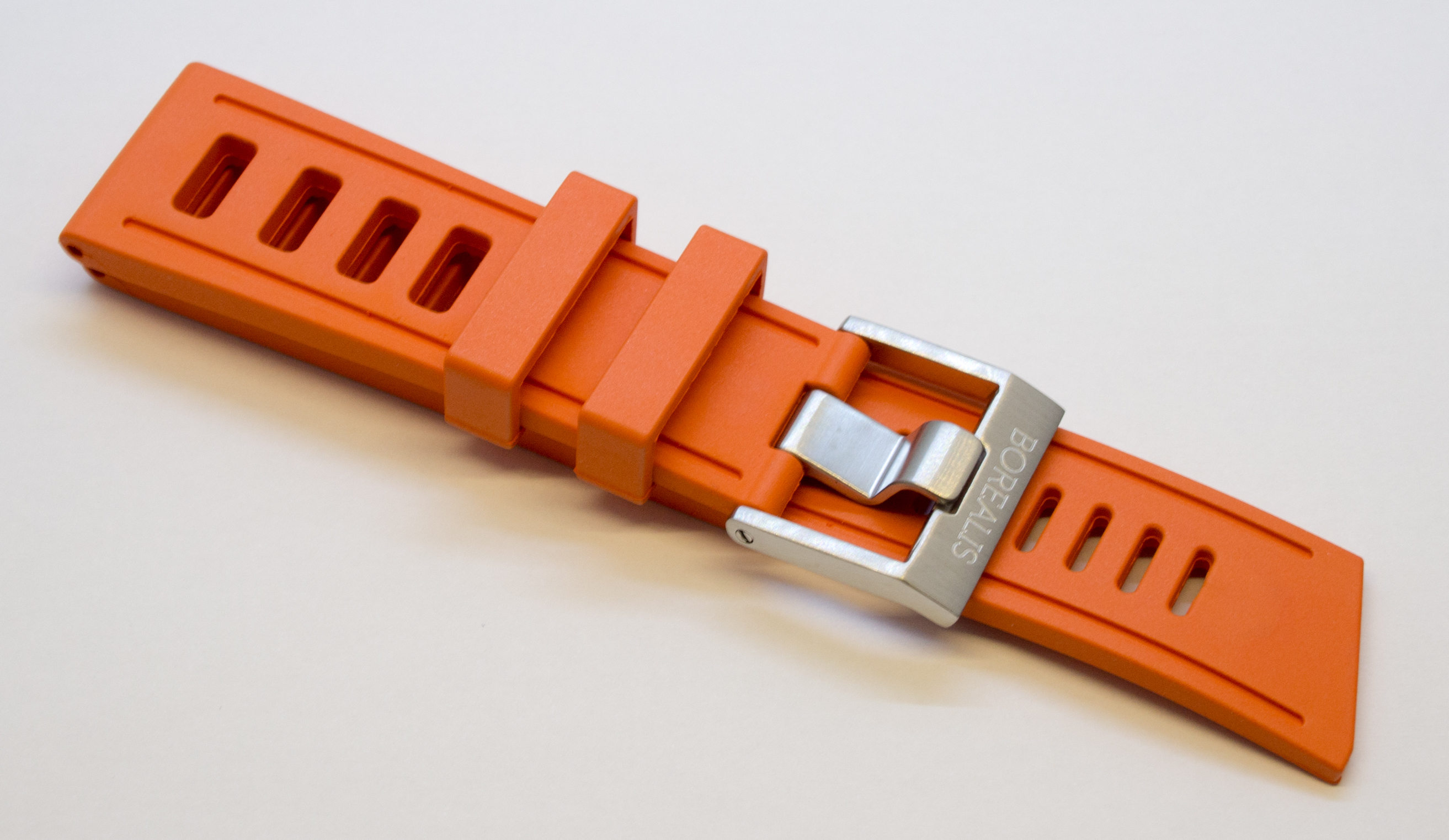 Borealis Vulcanized Rubber Strap 24mm Orange - Best Offer in Market for Diver Watches BRSO24