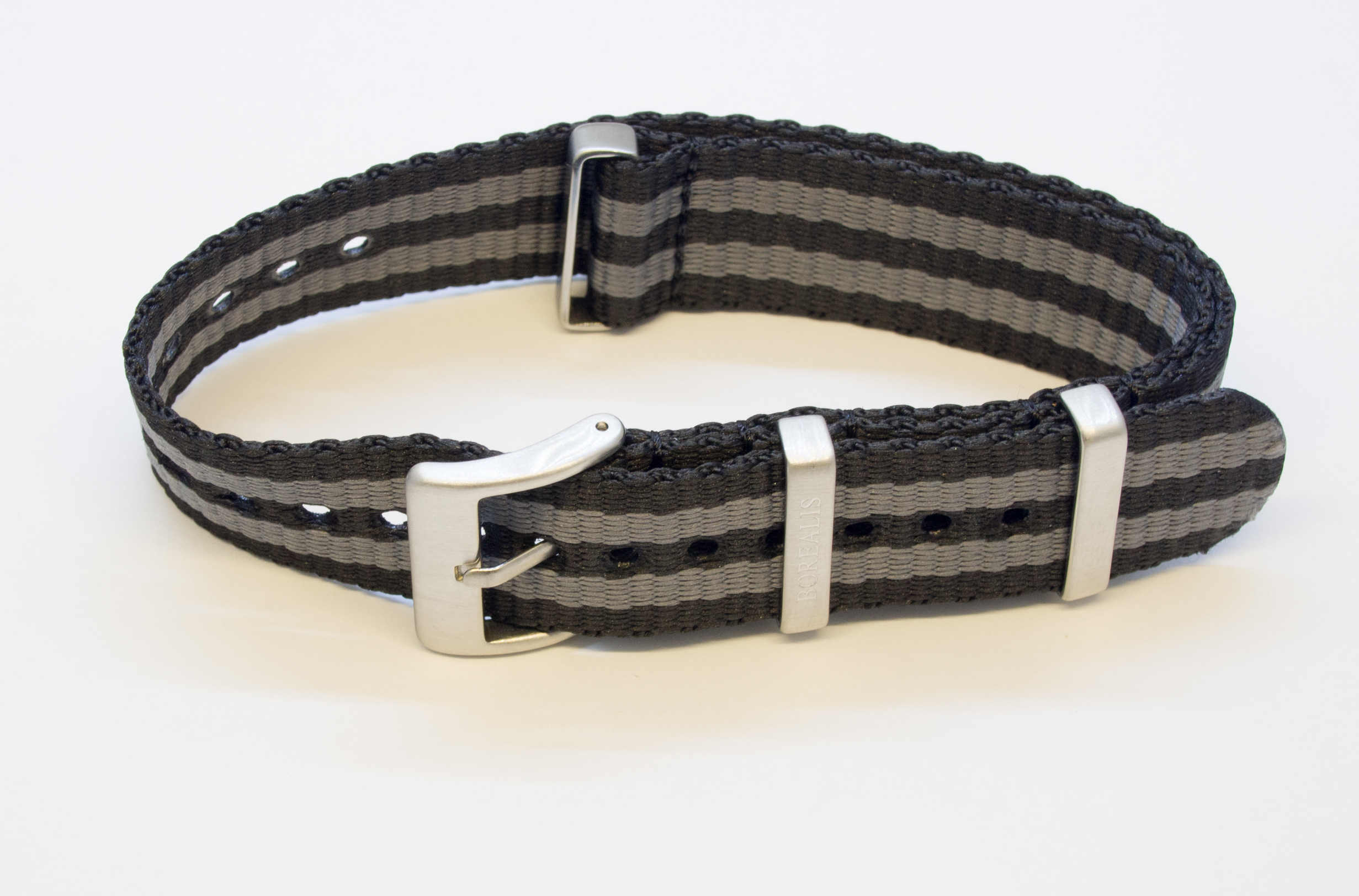 Borealis Nato style nylon strap 20mm size two tone black grey BNS2TBLACKGREY20MM