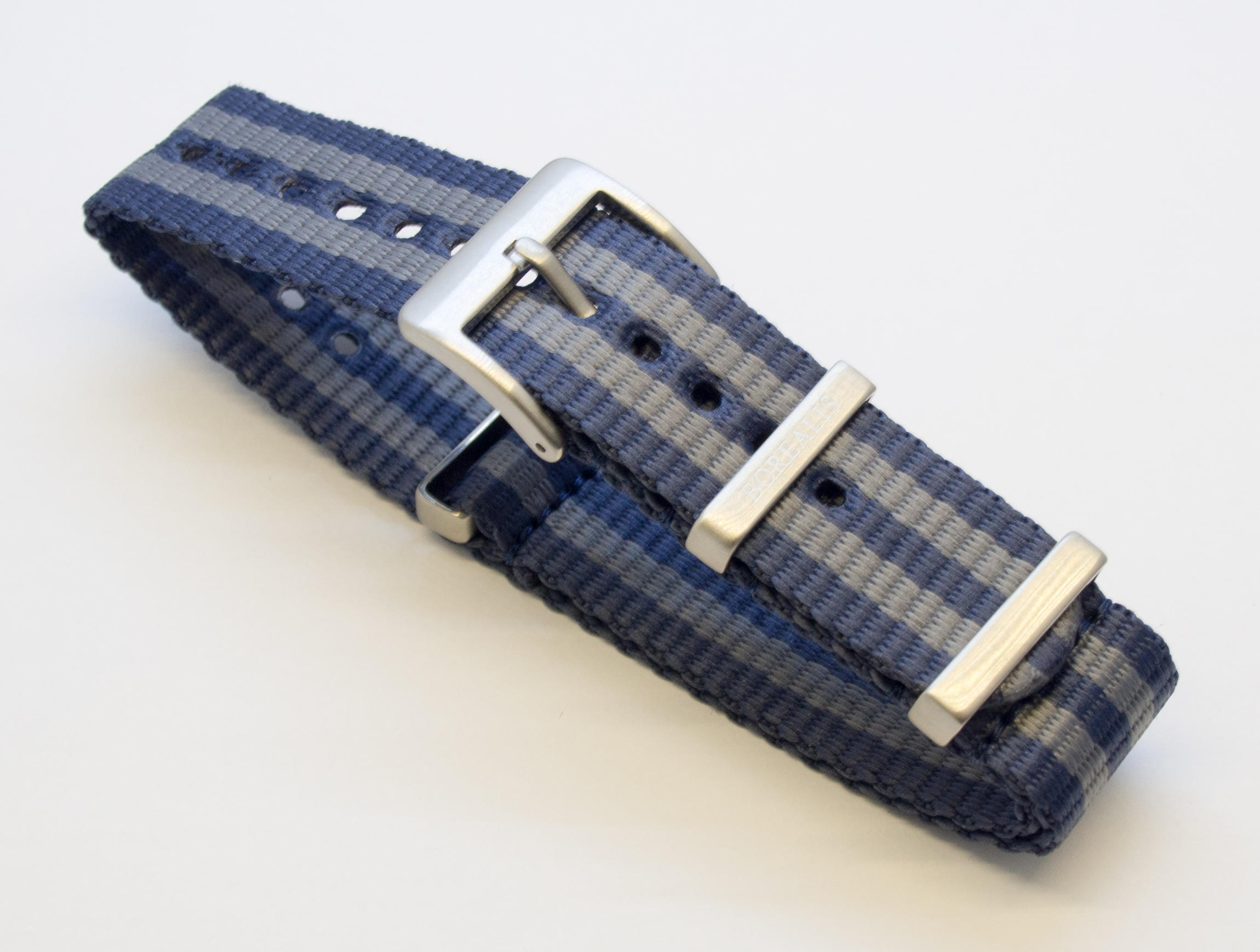 Borealis Nato style nylon strap 20mm size two tone blue grey BNS2TBLUEGREY20MM