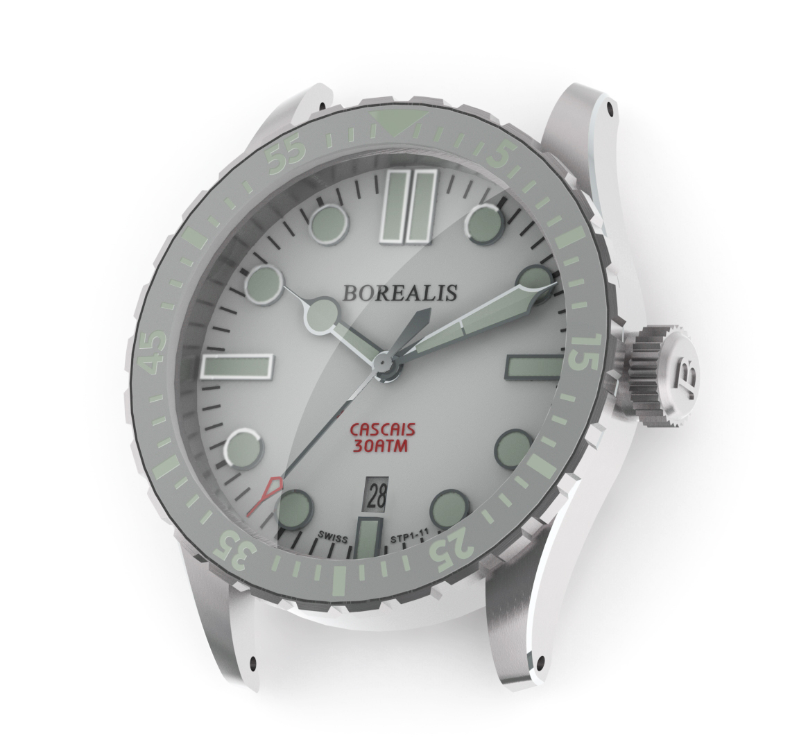 Borealis Cascais White Dial Cathedral Hands Date C3 X1 Lume BCSCWHITEDCHDATE