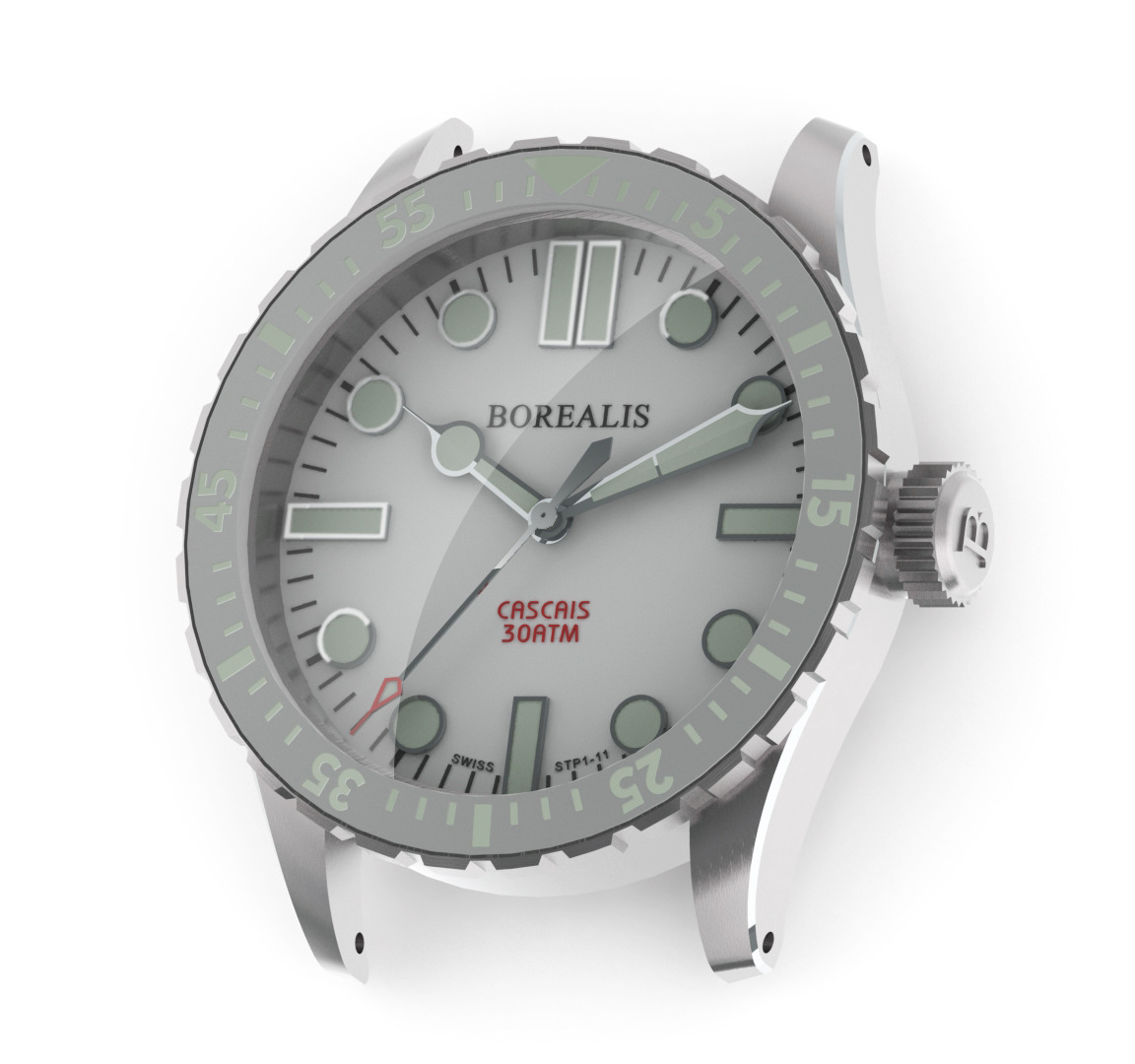 Borealis Cascais White Dial Cathedral Hands No Date BGW9 Lume