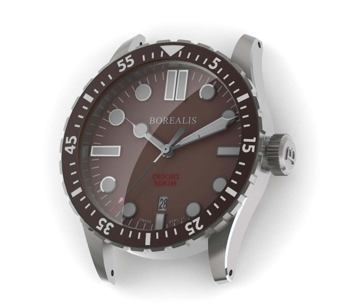 Borealis Cascais Brown Dial Cathedral Hands Date BGW9 Lume