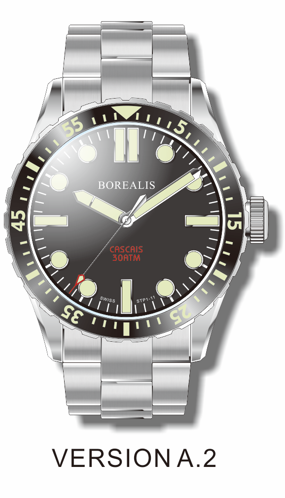 Borealis Cascais Black Dial Pencil Hands No Date C3 X1 Lume