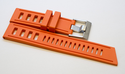 Borealis Vulcanized Rubber Strap 22mm Orange - Best Offer in Market for Diver Watches