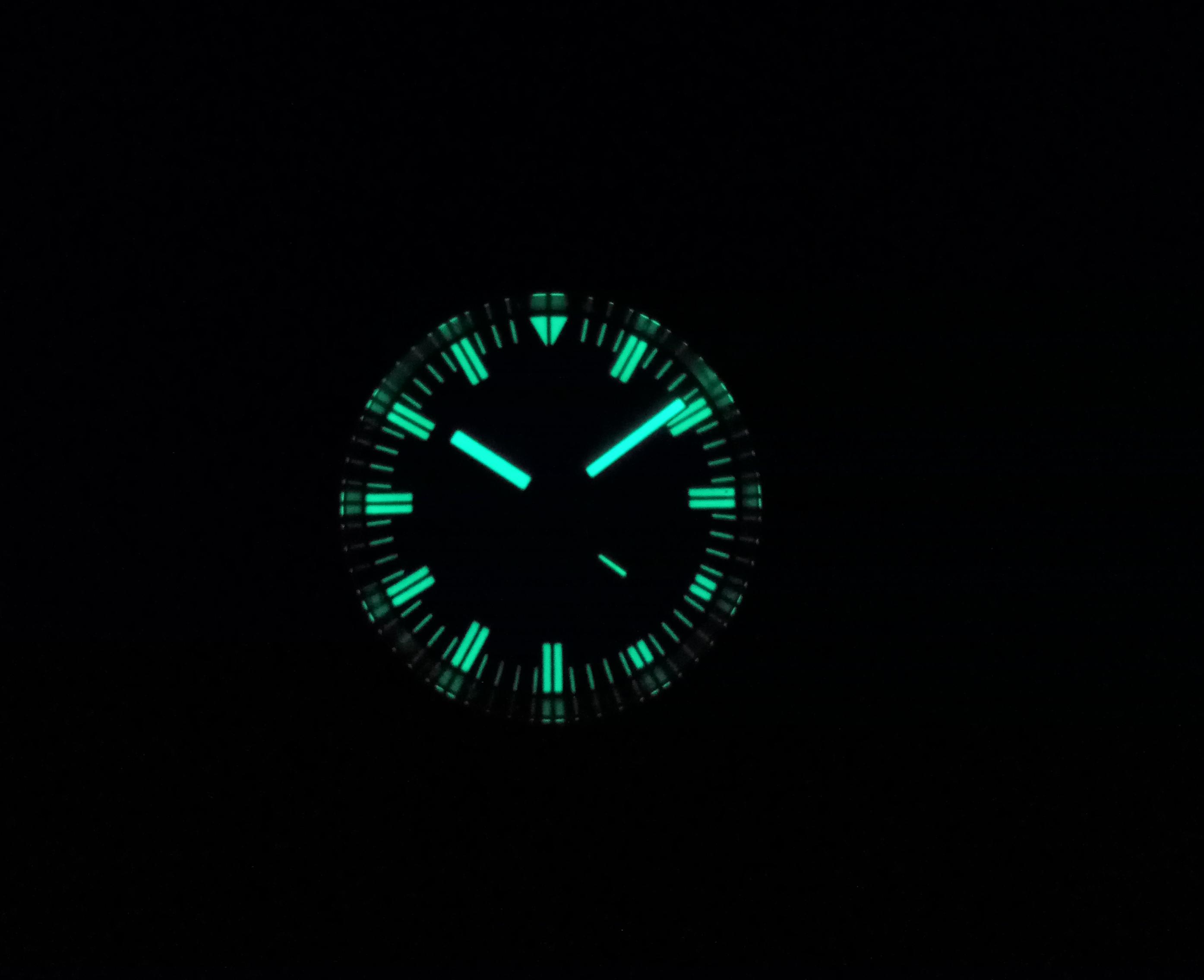 Borealis Porto Santo Automatic Diver Watch Black Dial C3 Lume Miyota 8128 Lume Shot