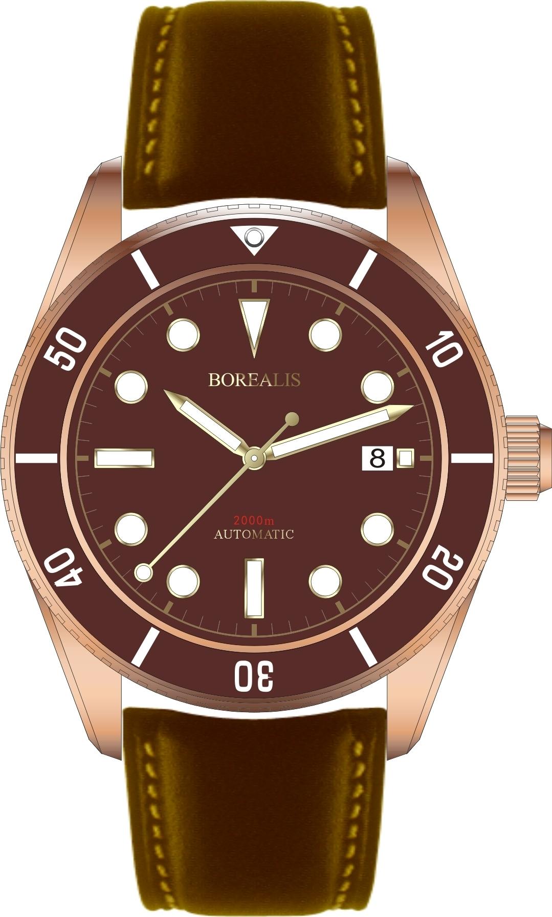 Pre-Order Borealis Bull Shark Bronze CuSn8 Automatic Diver Watch Date Miyota 9015 Ceramic Brown Bezel Bezel Brown Dial