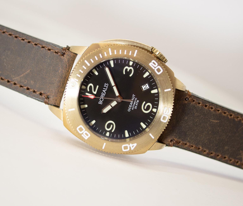 Borealis Oceanaut Aluminum Bronze Black Date 200m NH35 Automatic Diver Watch BOCEANAUTBLACKDT