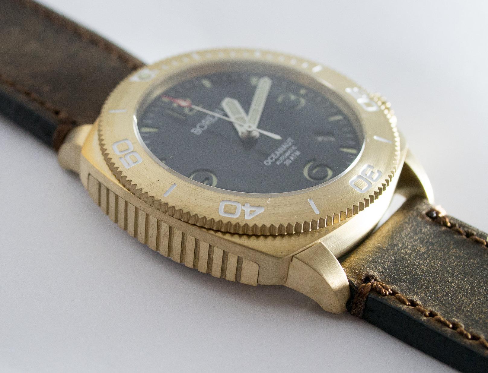Borealis Oceanaut Aluminum Bronze Black Date 200m NH35 Automatic Diver Watch