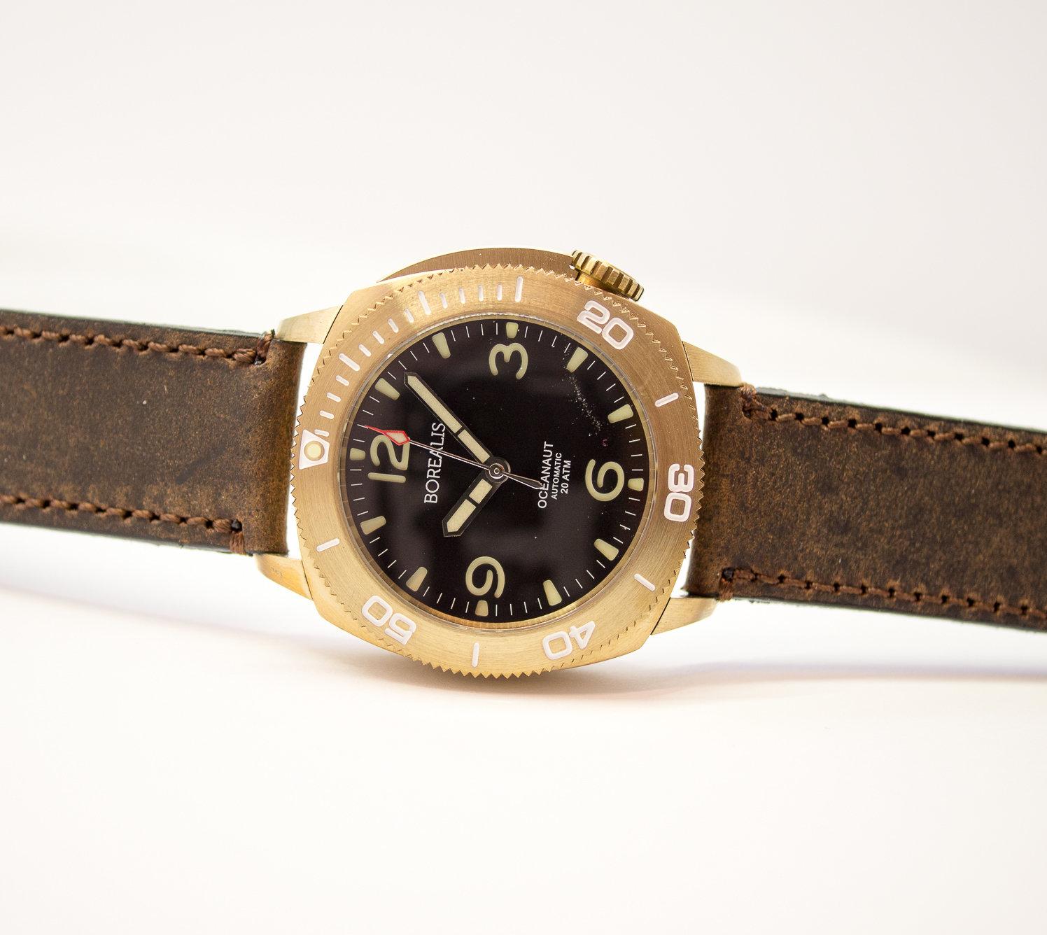 Borealis Oceanaut Aluminum Bronze Black No Date 200m NH35 Automatic Diver Watch