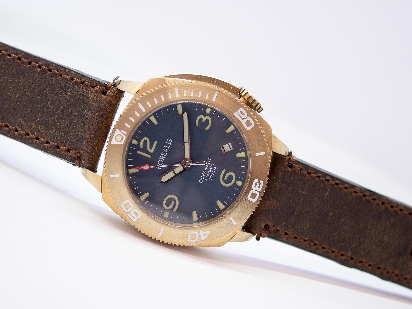 Borealis Oceanaut Aluminum Bronze Teal Blue Date 200m NH35 Automatic Diver Watch BOCEANAUTBLUEDT