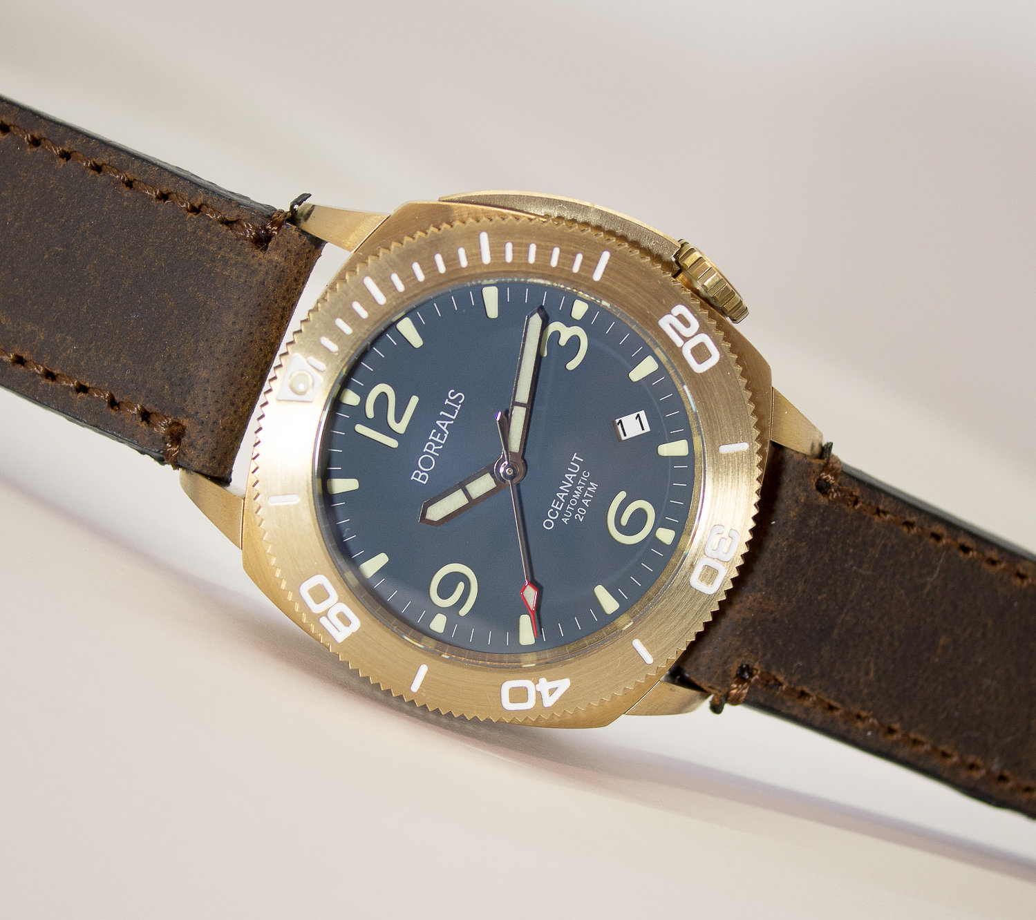 Borealis Oceanaut Aluminum Bronze Teal Blue Date 200m NH35 Automatic Diver Watch
