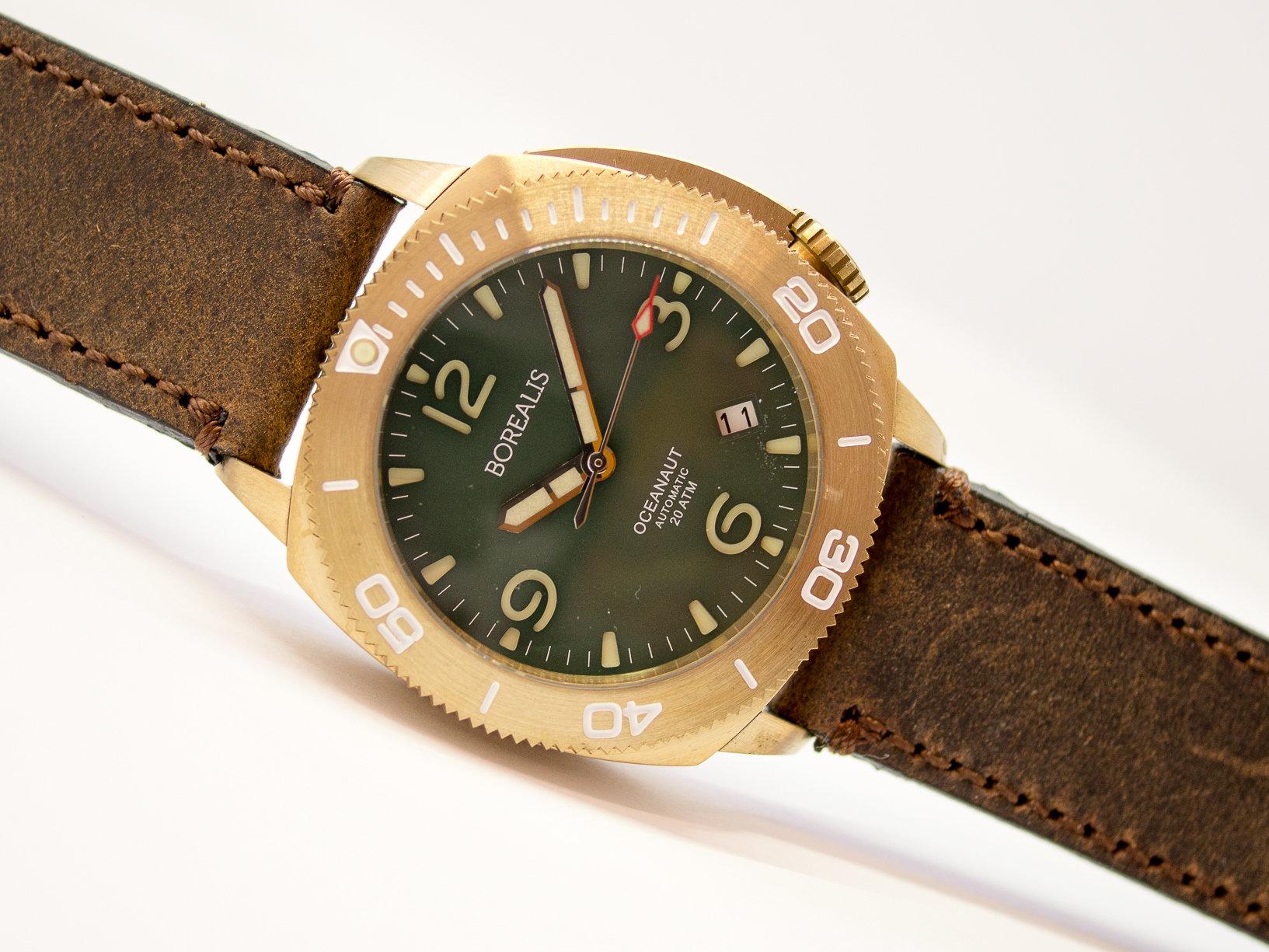 Borealis Oceanaut Aluminum Bronze Green Date 200m NH35 Automatic Diver Watch BOCEANAUTGREENDT
