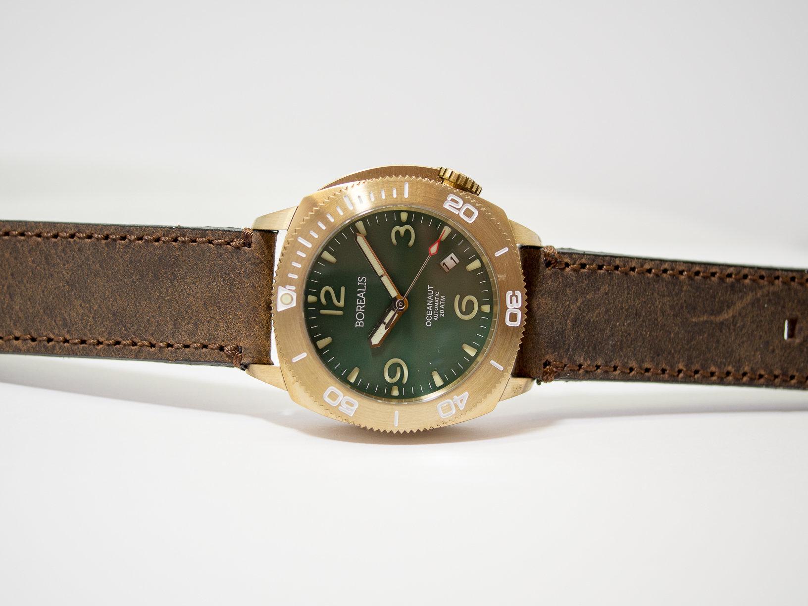 Borealis Oceanaut Aluminum Bronze Green Date 200m NH35 Automatic Diver Watch