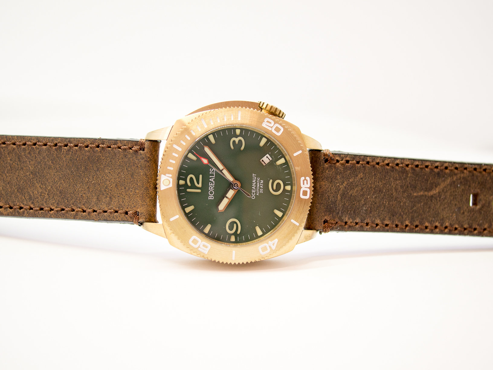 Borealis Oceanaut Aluminum Bronze Green Date 200m NH35 Automatic Diver Watch