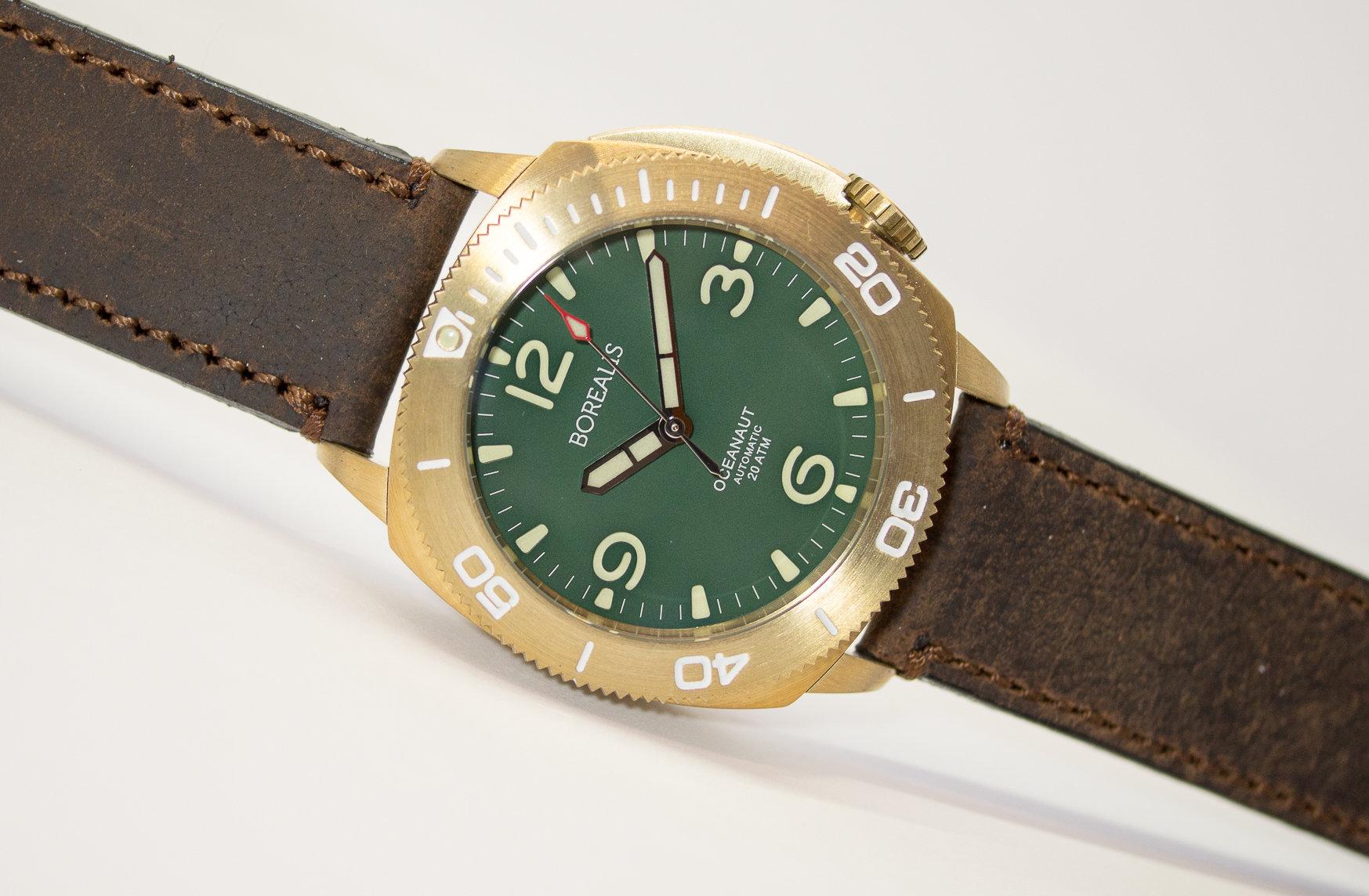 Borealis Oceanaut Aluminum Bronze Green No Date 200m NH35 Automatic Diver Watch BOCEANAUTGREENODT