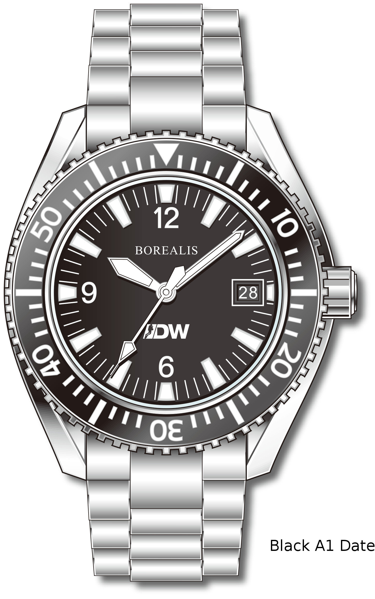 Pre-Order Borealis Estoril 300 for Diver's Watches Facebook Group Black Dial Arabic Numbers Date Black A1 Date EDWFBGBLACKA1DT