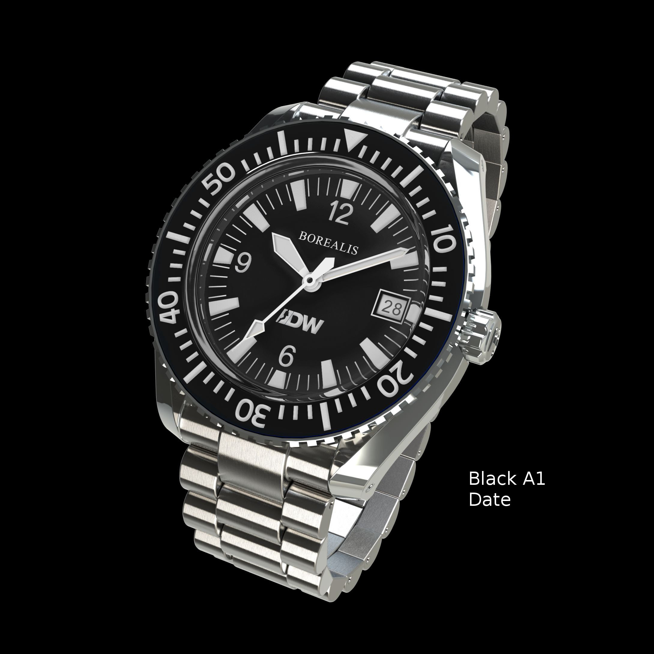 Borealis Estoril 300 for Diver's Watches Facebook Group Black Dial Arabic Numbers Date Black A1 Date