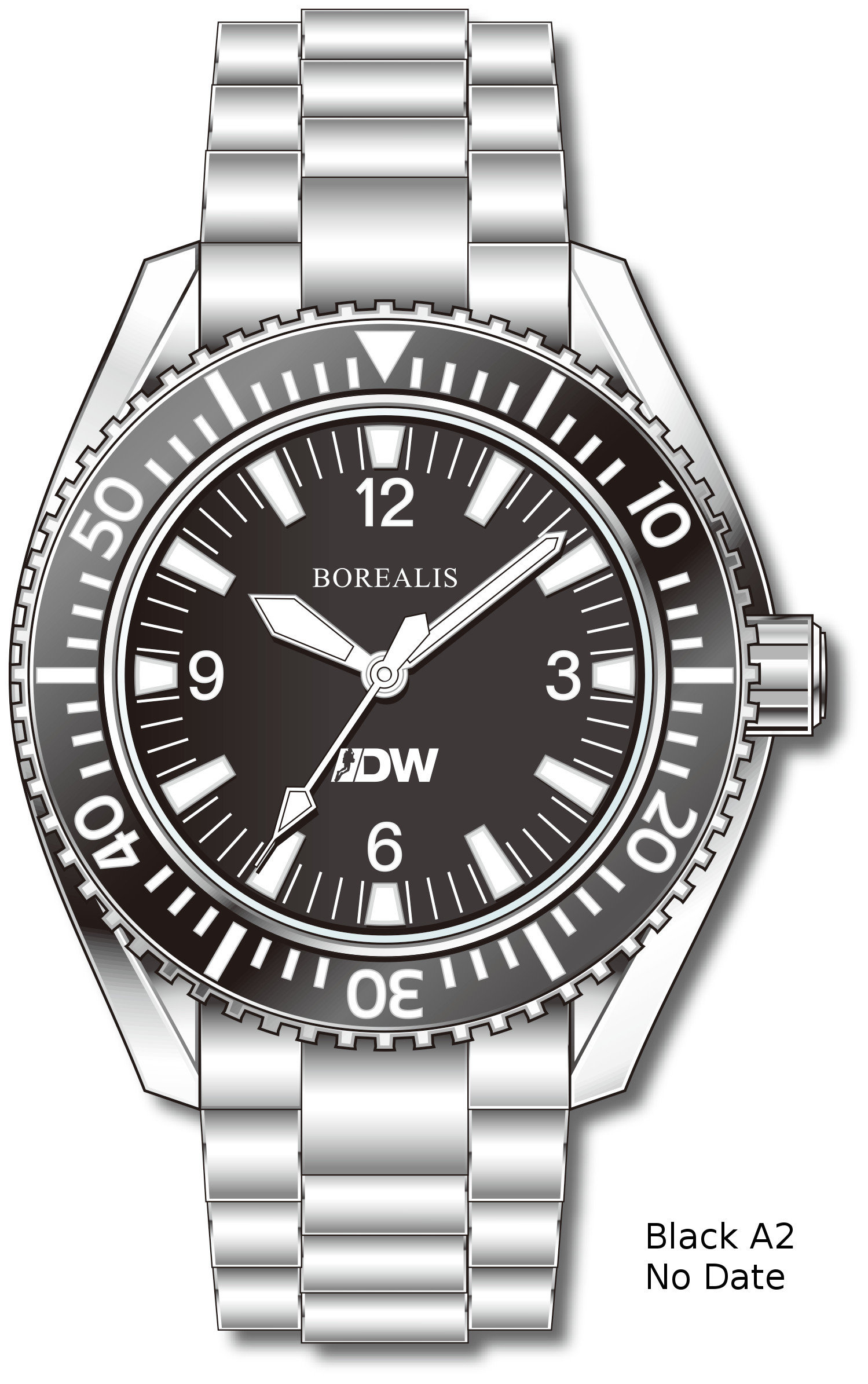 Pre-Order Borealis Estoril 300 for Diver's Watches Facebook Group Black Dial Arabic Numbers Date Black A2 No Date EDWFBGBLACKA2NDT